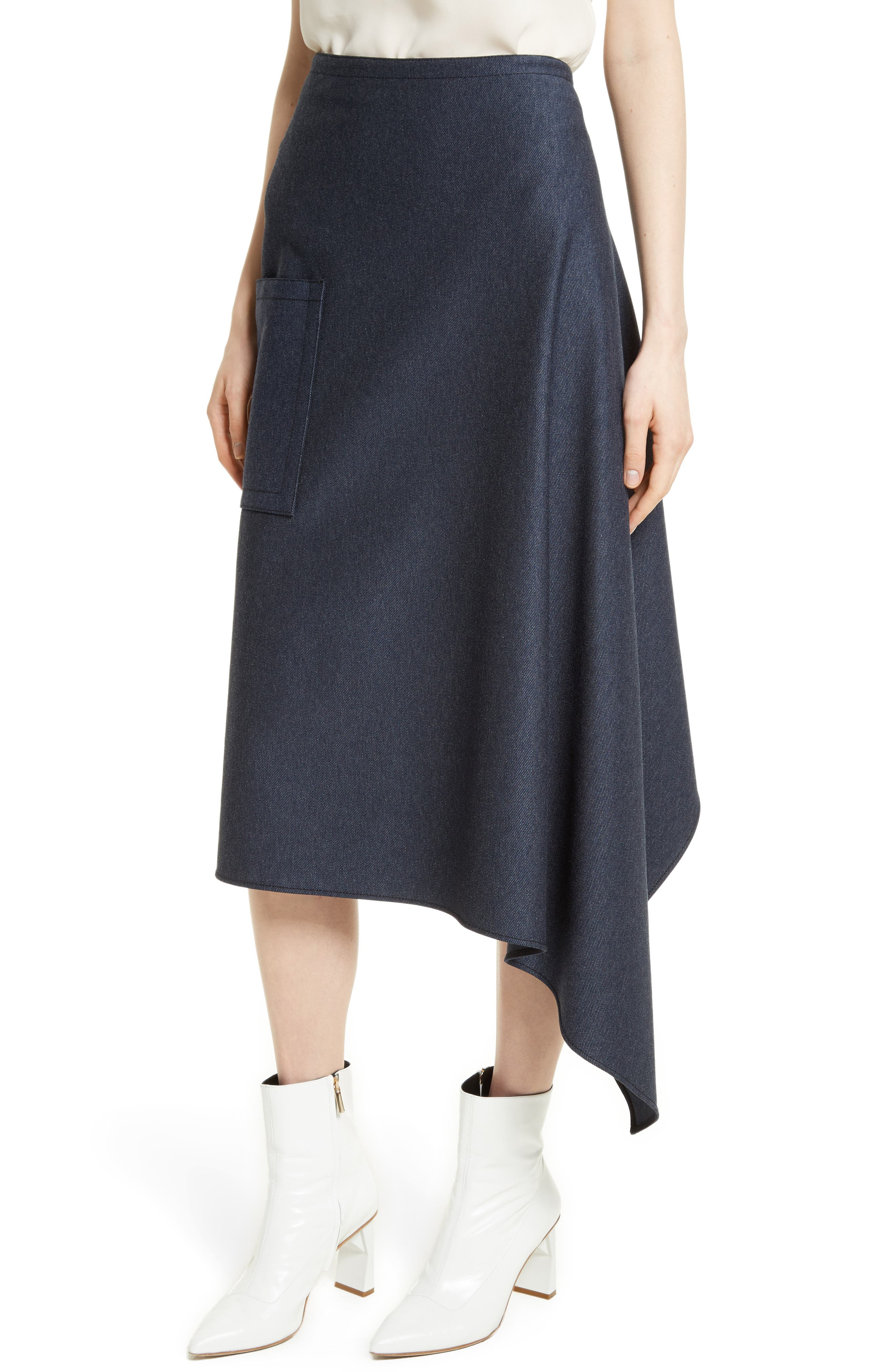 Origami Asymmetrical Twill Skirt,                             Alternate thumbnail 4, color,                             402