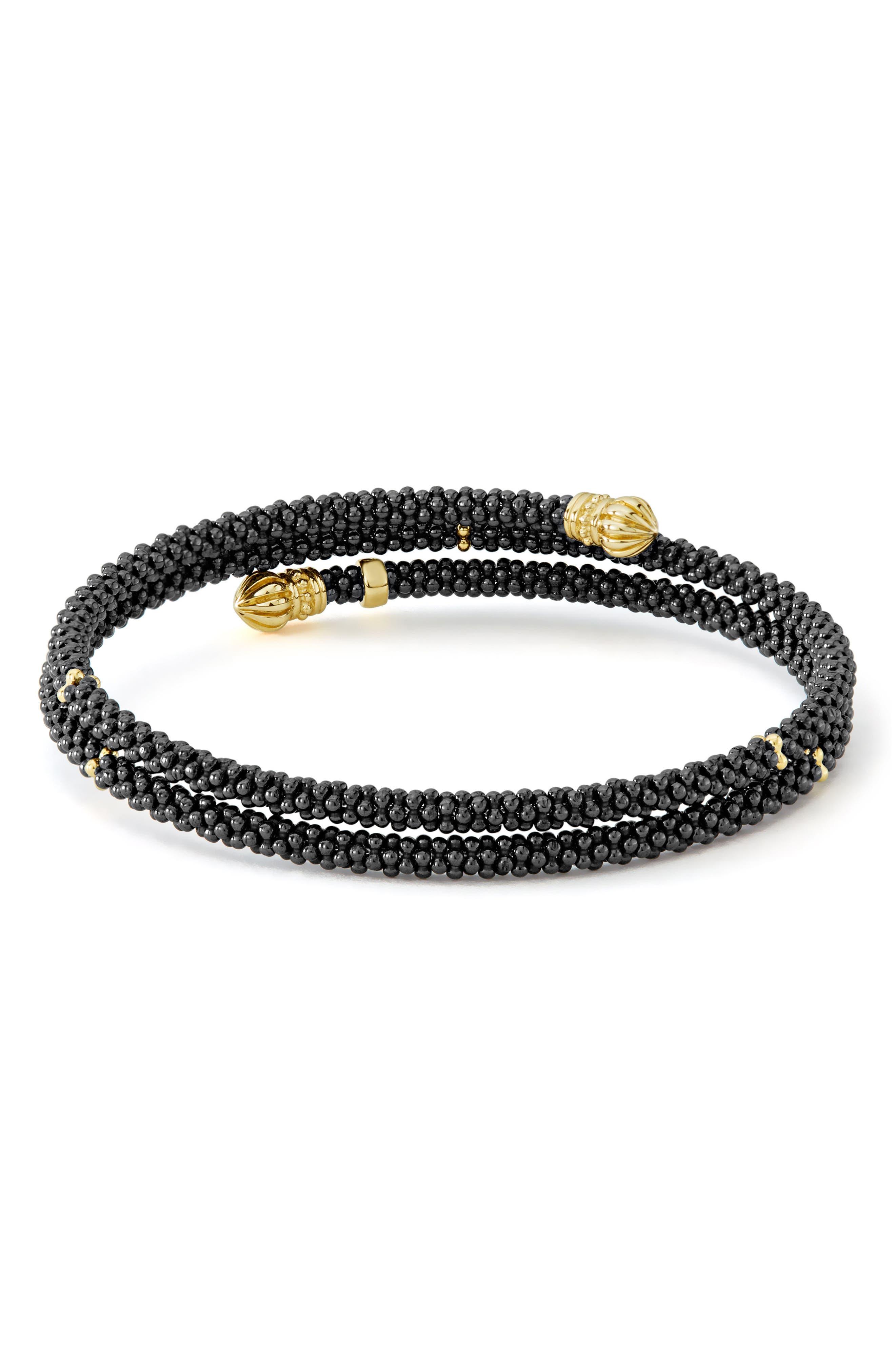 Gold & Black Caviar Coil Bracelet,                             Alternate thumbnail 3, color,                             GOLD