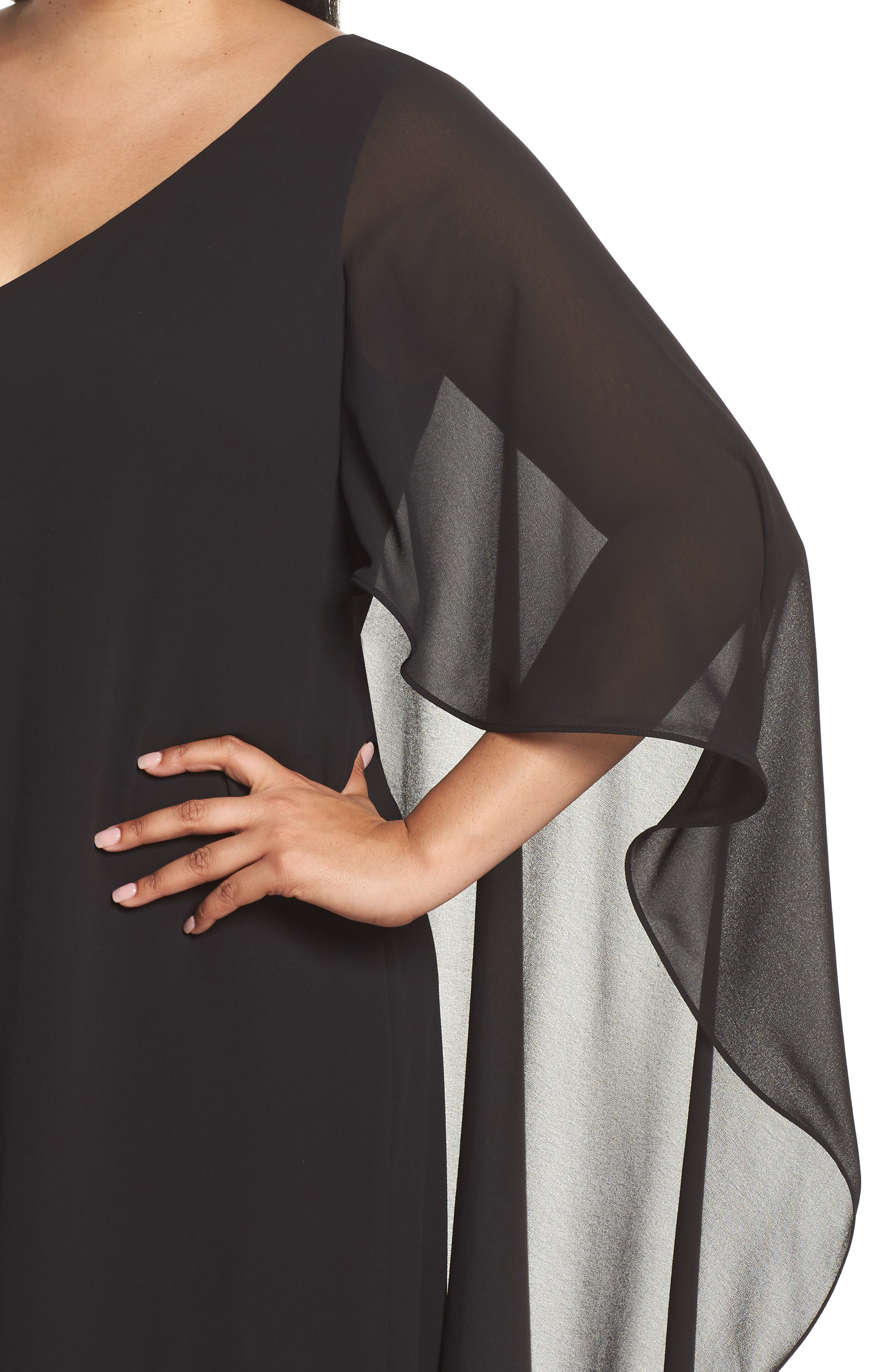 Cape Overlay Chiffon Gown,                             Alternate thumbnail 4, color,                             BLACK