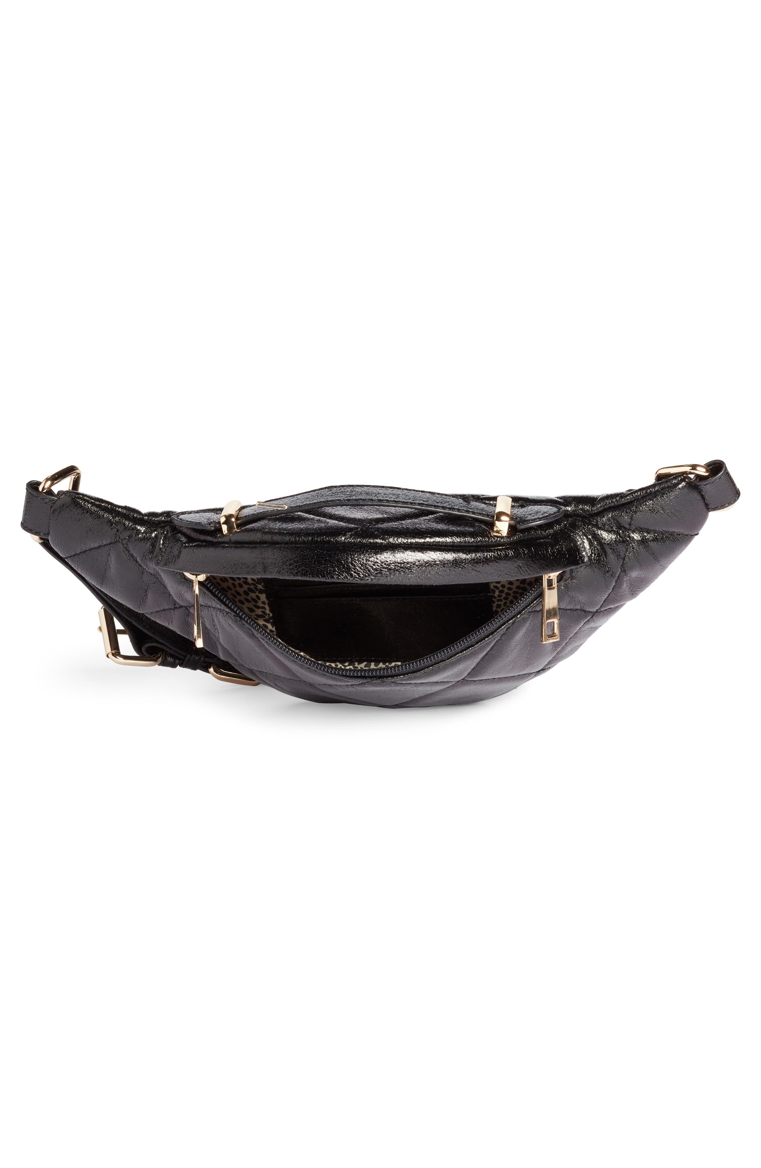 Quilted Faux Leather Belt Bag,                             Alternate thumbnail 4, color,                             BLACK
