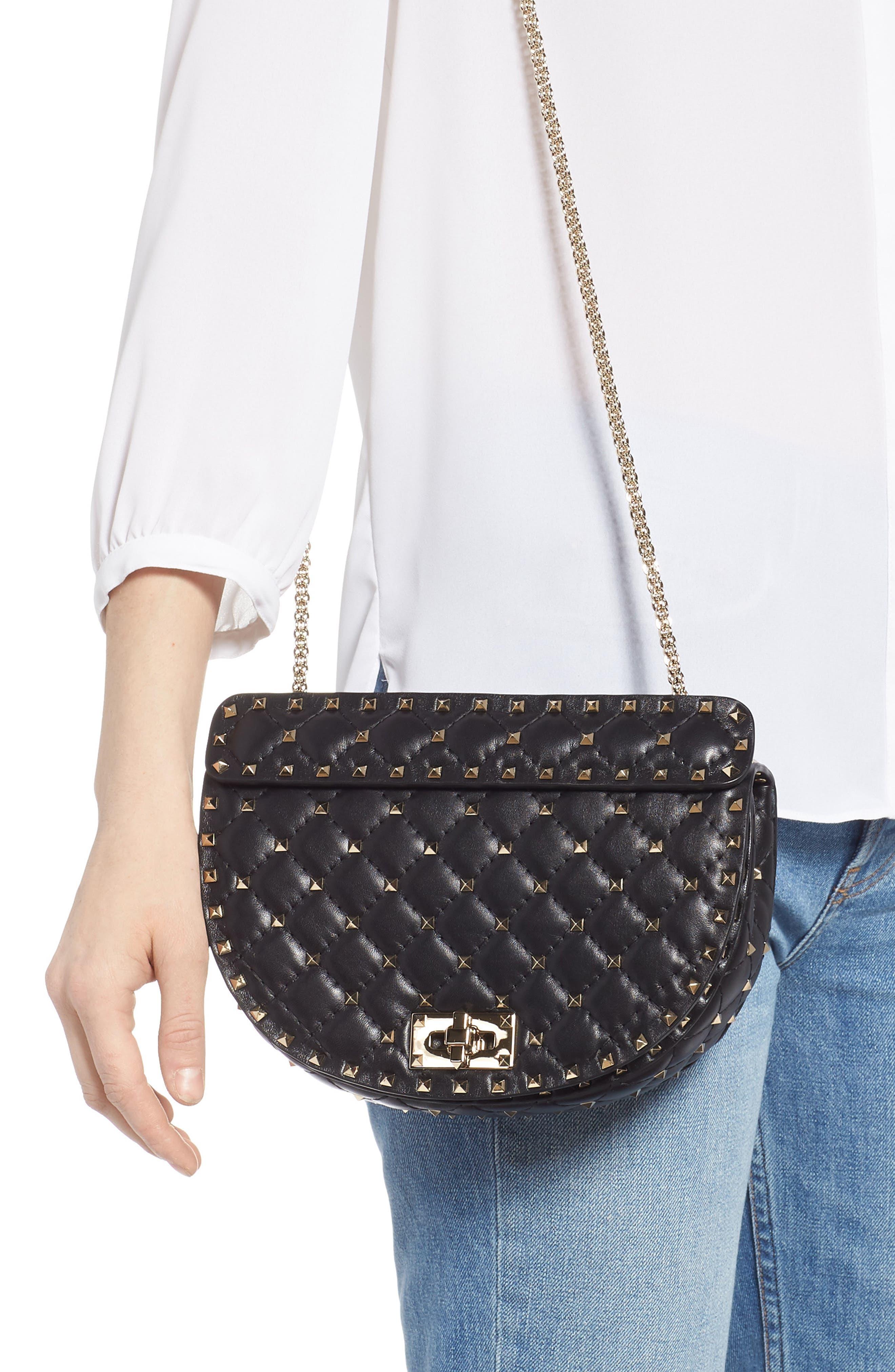 Rockstud Spike Leather Saddle Bag,                             Alternate thumbnail 2, color,                             NERO