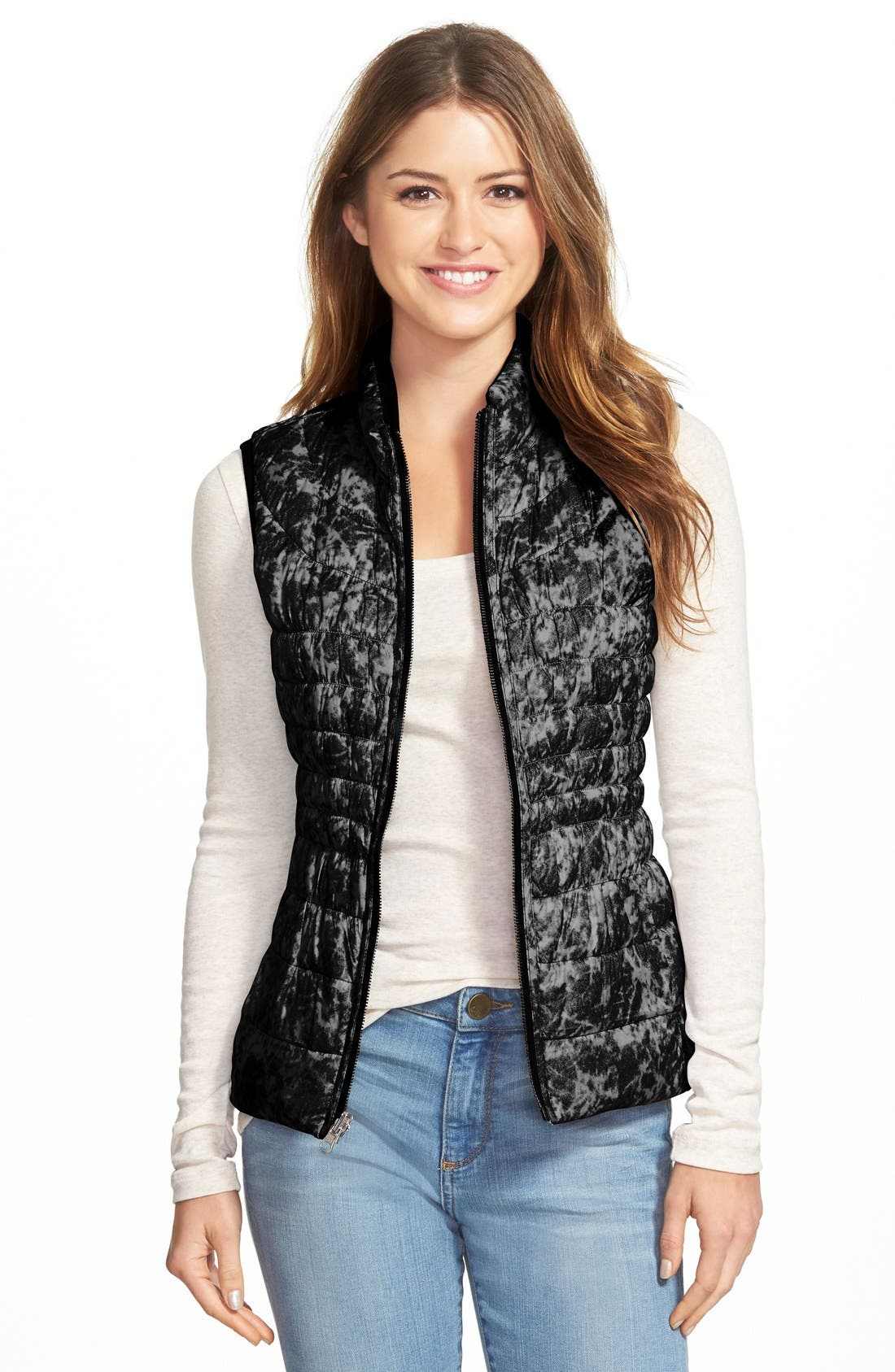 Packable Reversible Down & PrimaLoft<sup>®</sup> Vest,                             Alternate thumbnail 2, color,                             001