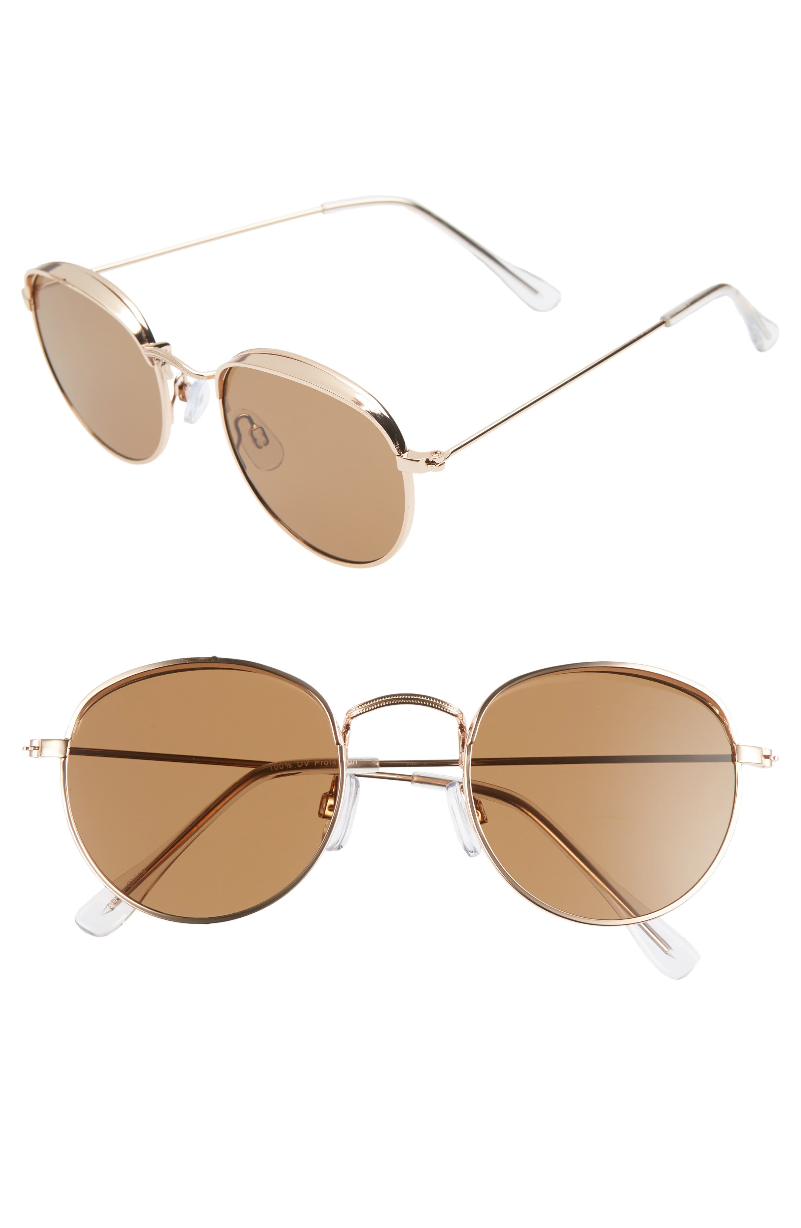 50mm Round Sunglasses,                         Main,                         color, GOLD/ BROWN