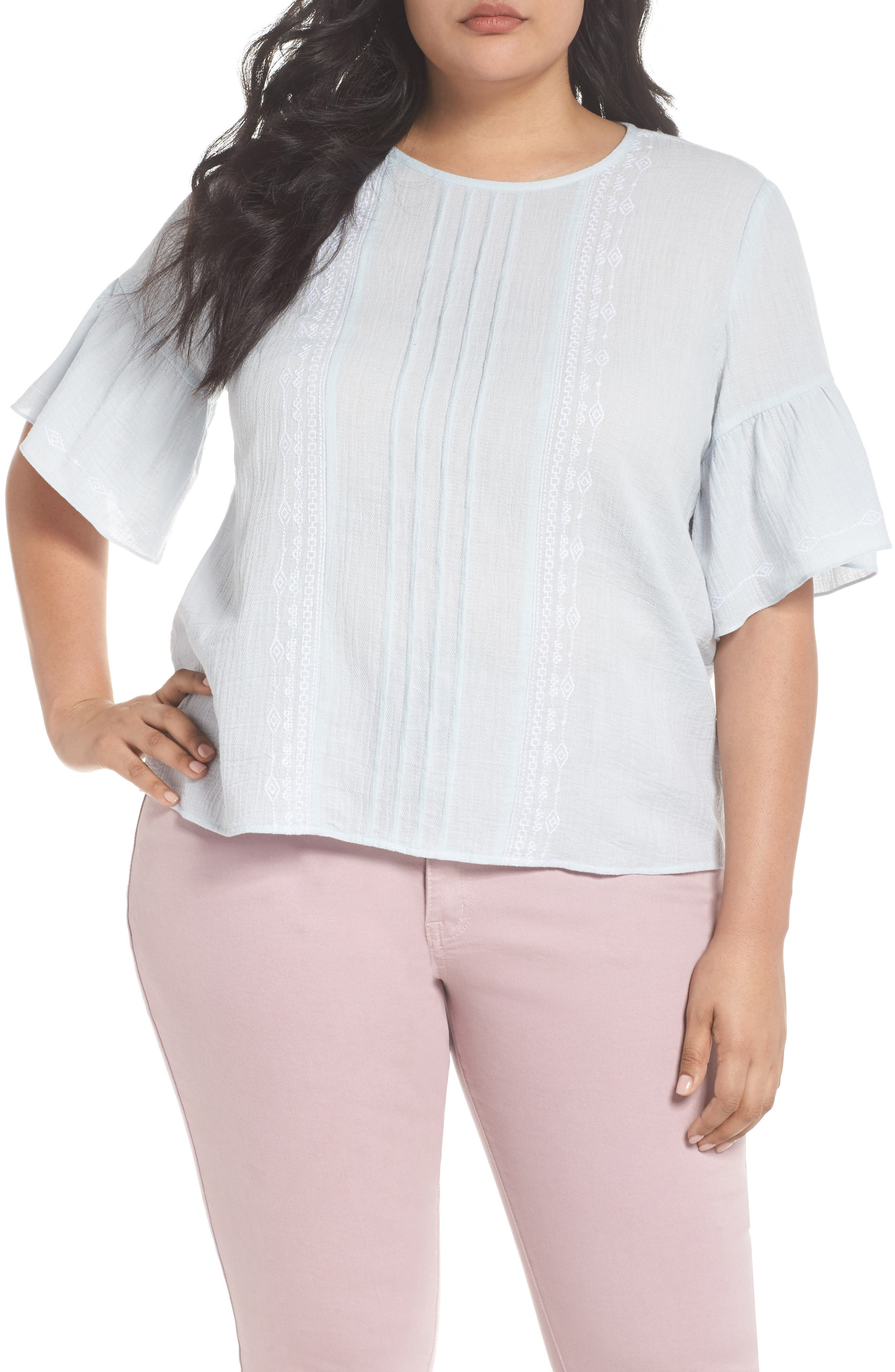 Ruffle Sleeve Embroidered Crinkle Cotton Top,                         Main,                         color, CHALK BLUE