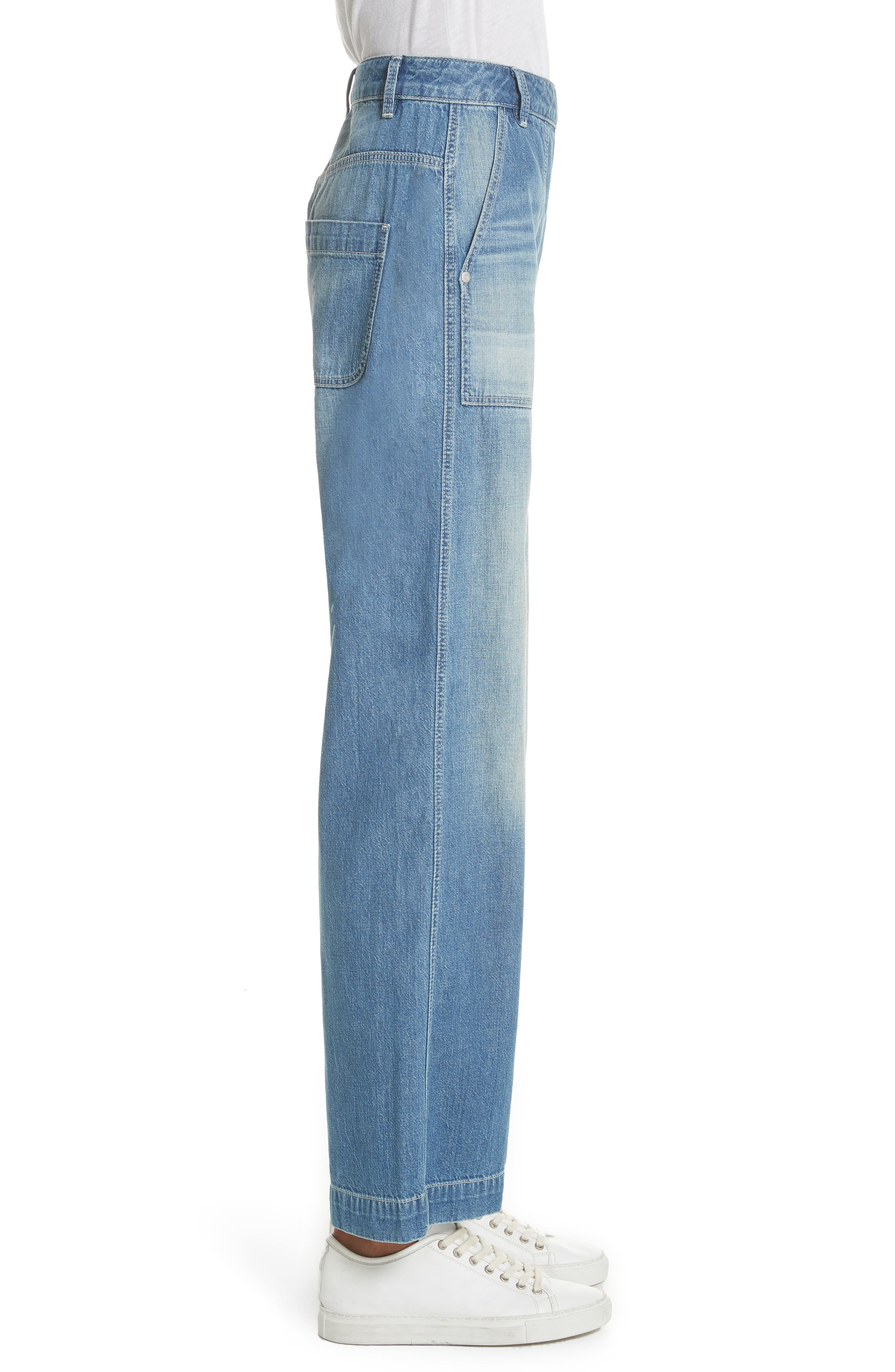 Drapey Denim Wide Leg Pants,                             Alternate thumbnail 3, color,                             434