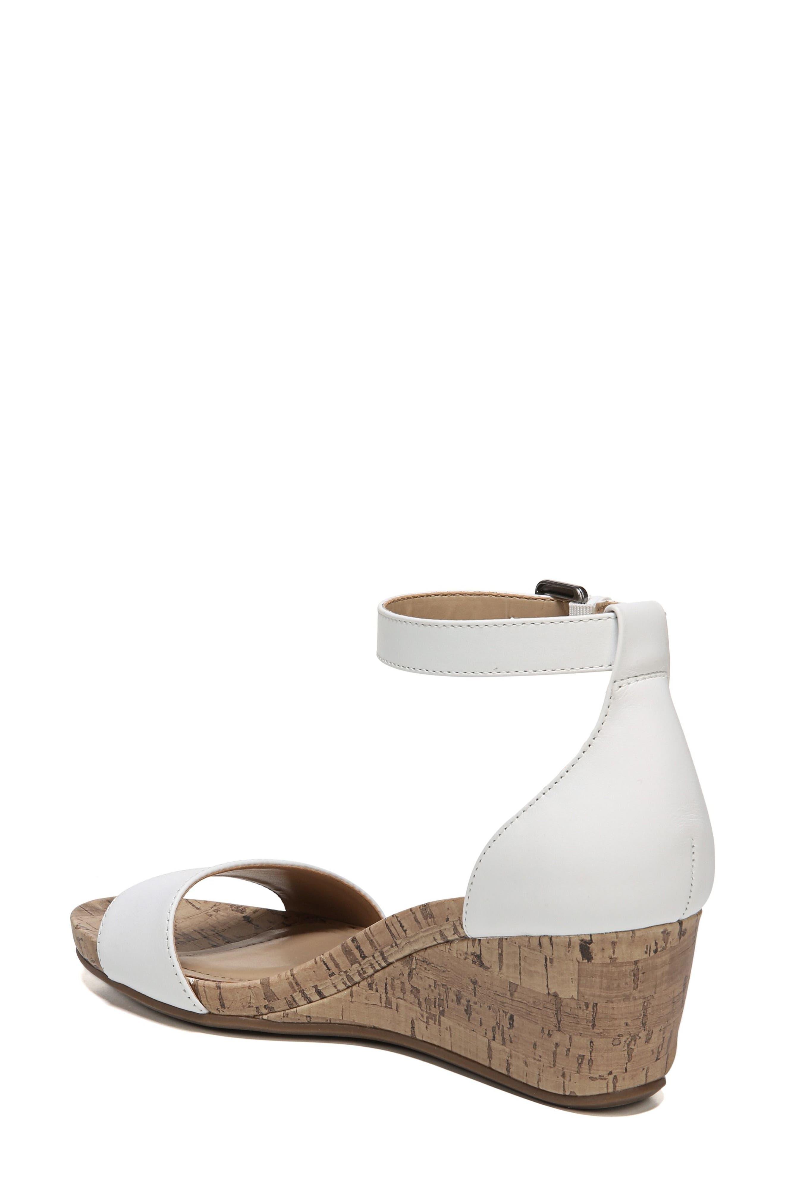 Cami Wedge Sandal,                             Alternate thumbnail 3, color,                             WHITE LEATHER