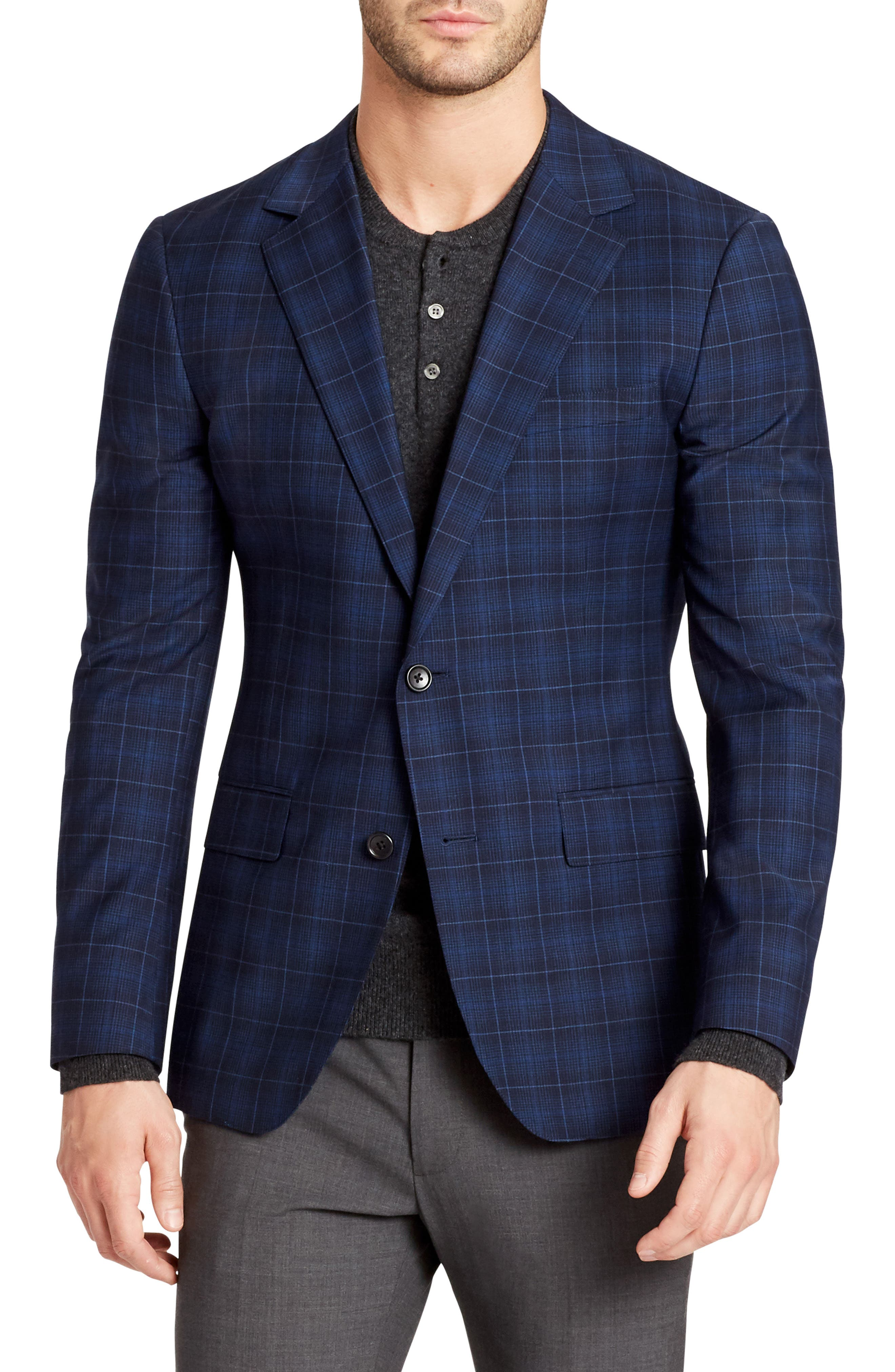 Jetsetter Slim Fit Plaid Wool Sport Coat,                             Main thumbnail 1, color,                             400