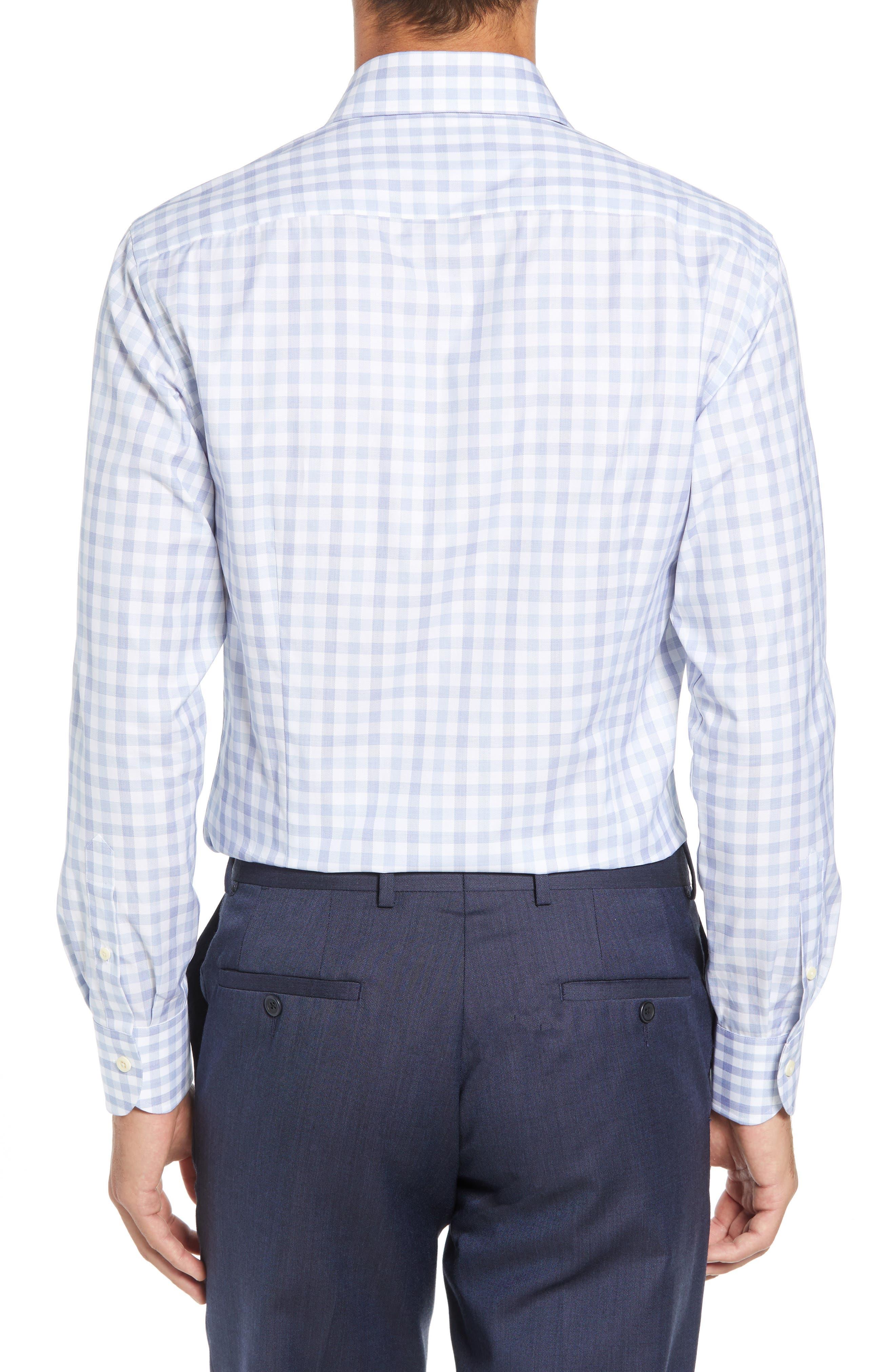 Corbly Trim Fit Check Dress Shirt,                             Alternate thumbnail 3, color,                             LIGHT BLUE