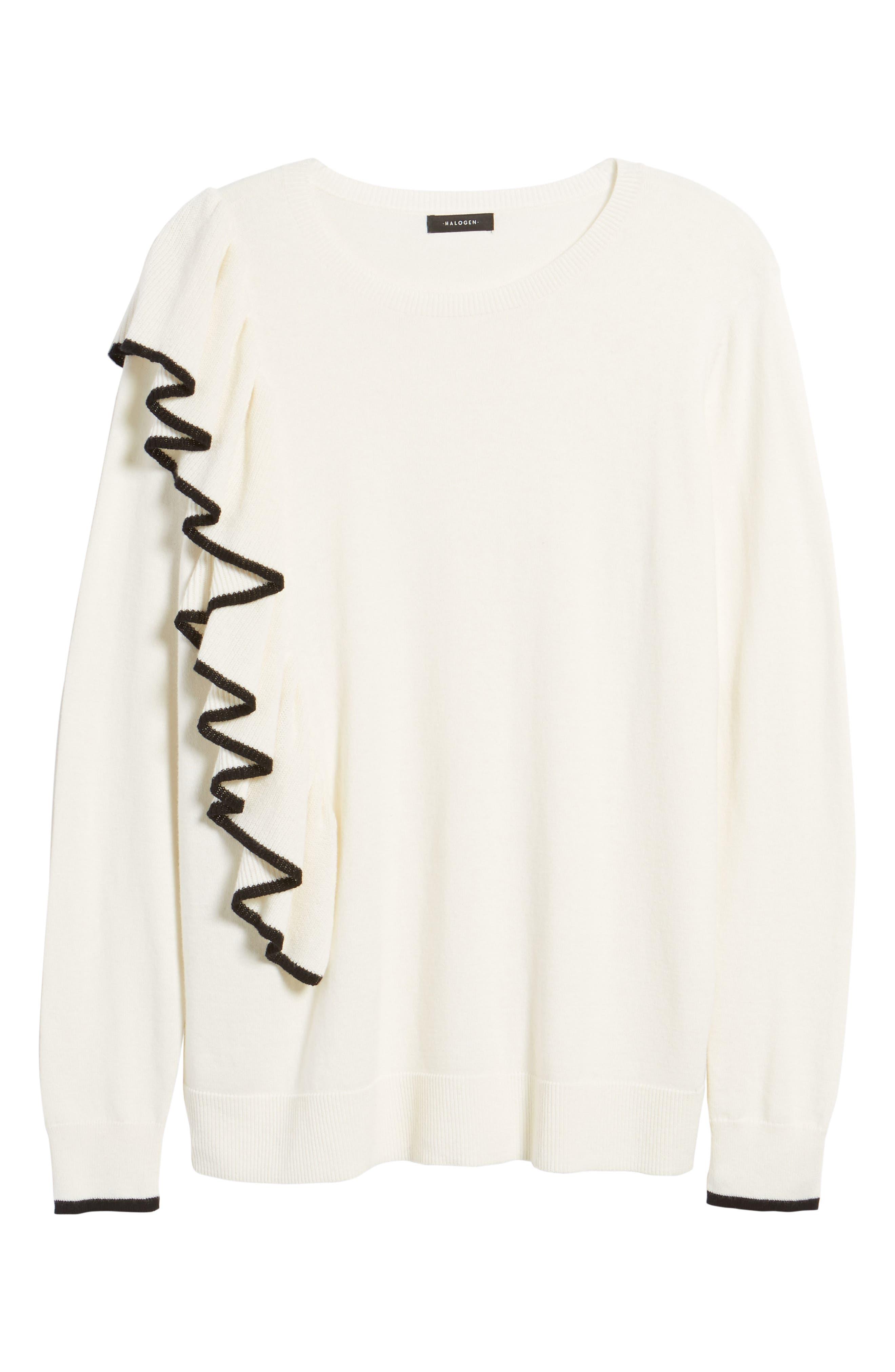 Asymmetrical Ruffle Sweater,                             Alternate thumbnail 17, color,