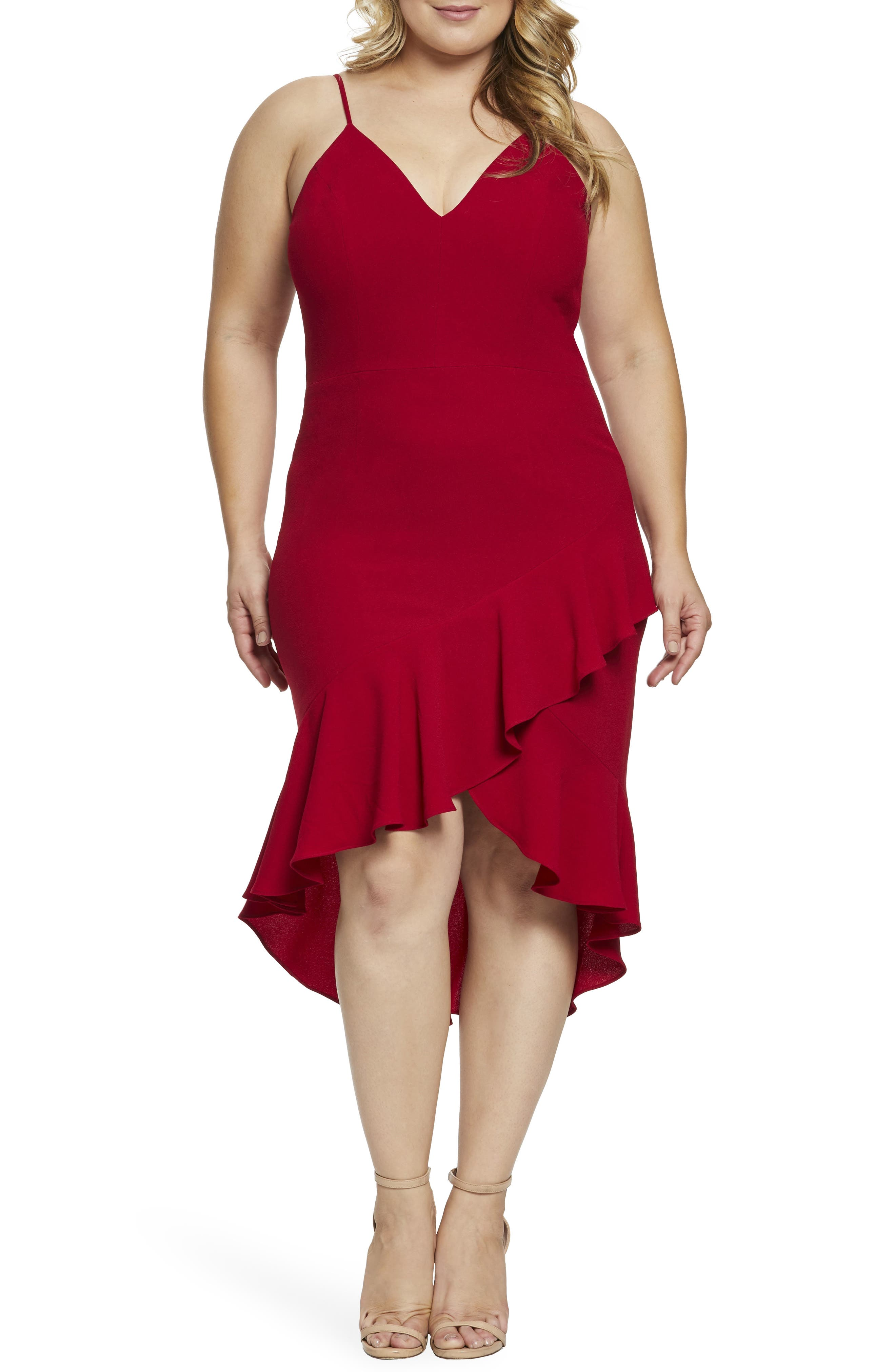 Plus Size Dress The Population Wendy High/low Ruffle Cocktail Dress, Red