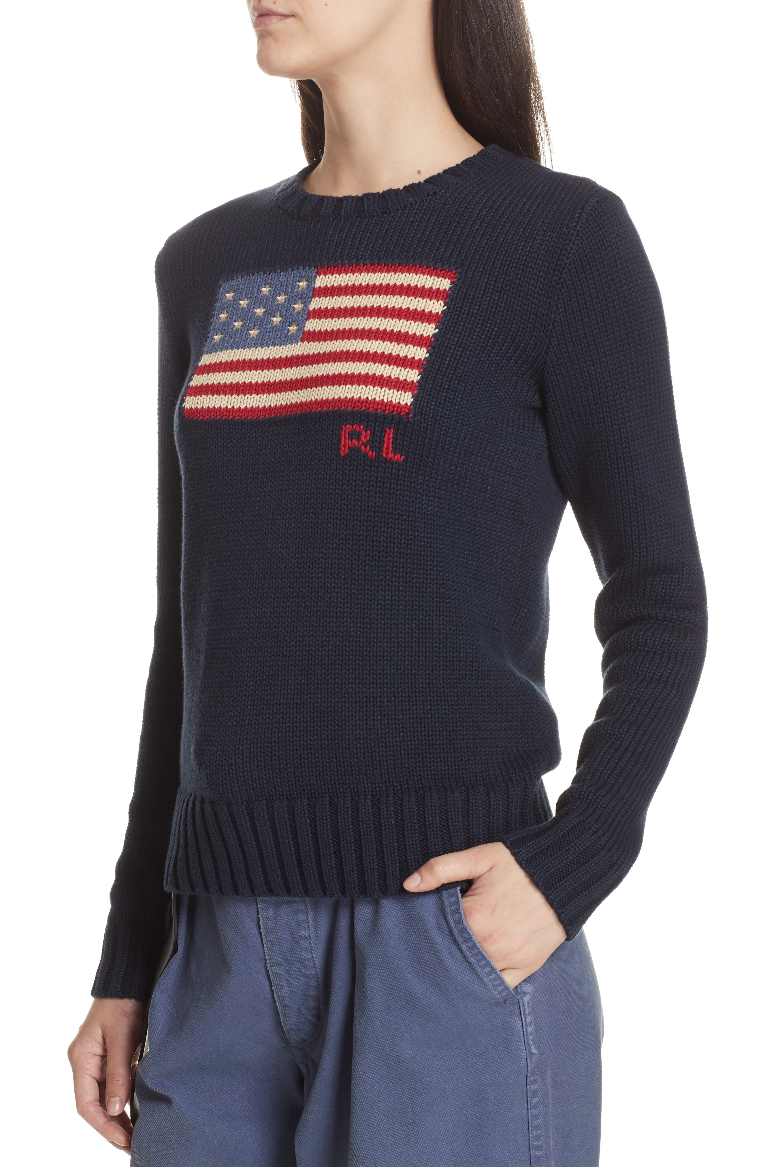 Flag Sweater,                             Alternate thumbnail 4, color,                             HUNTER NAVY MULTI