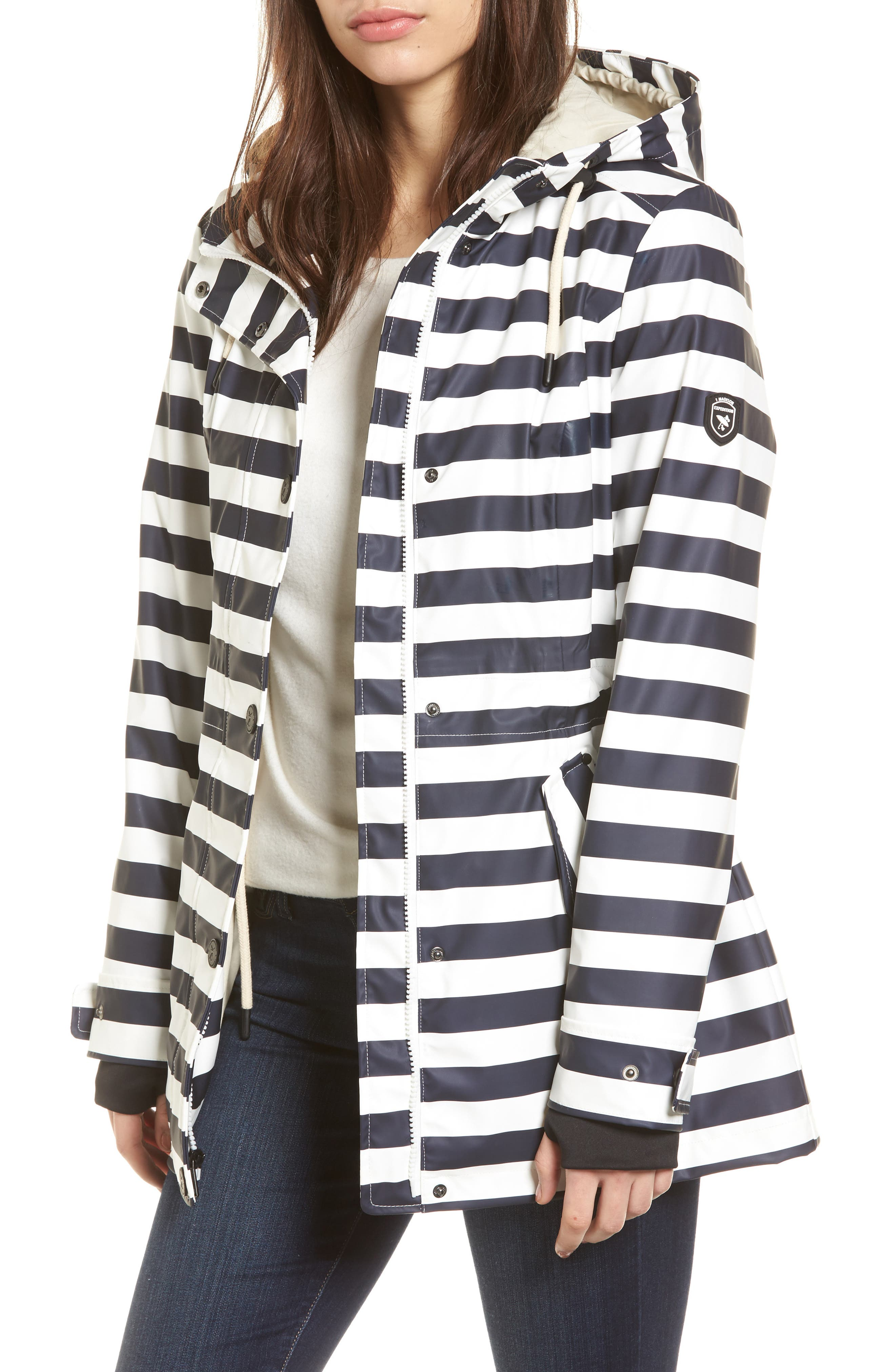 30 Stripe Hooded Raincoat,                         Main,                         color, 400