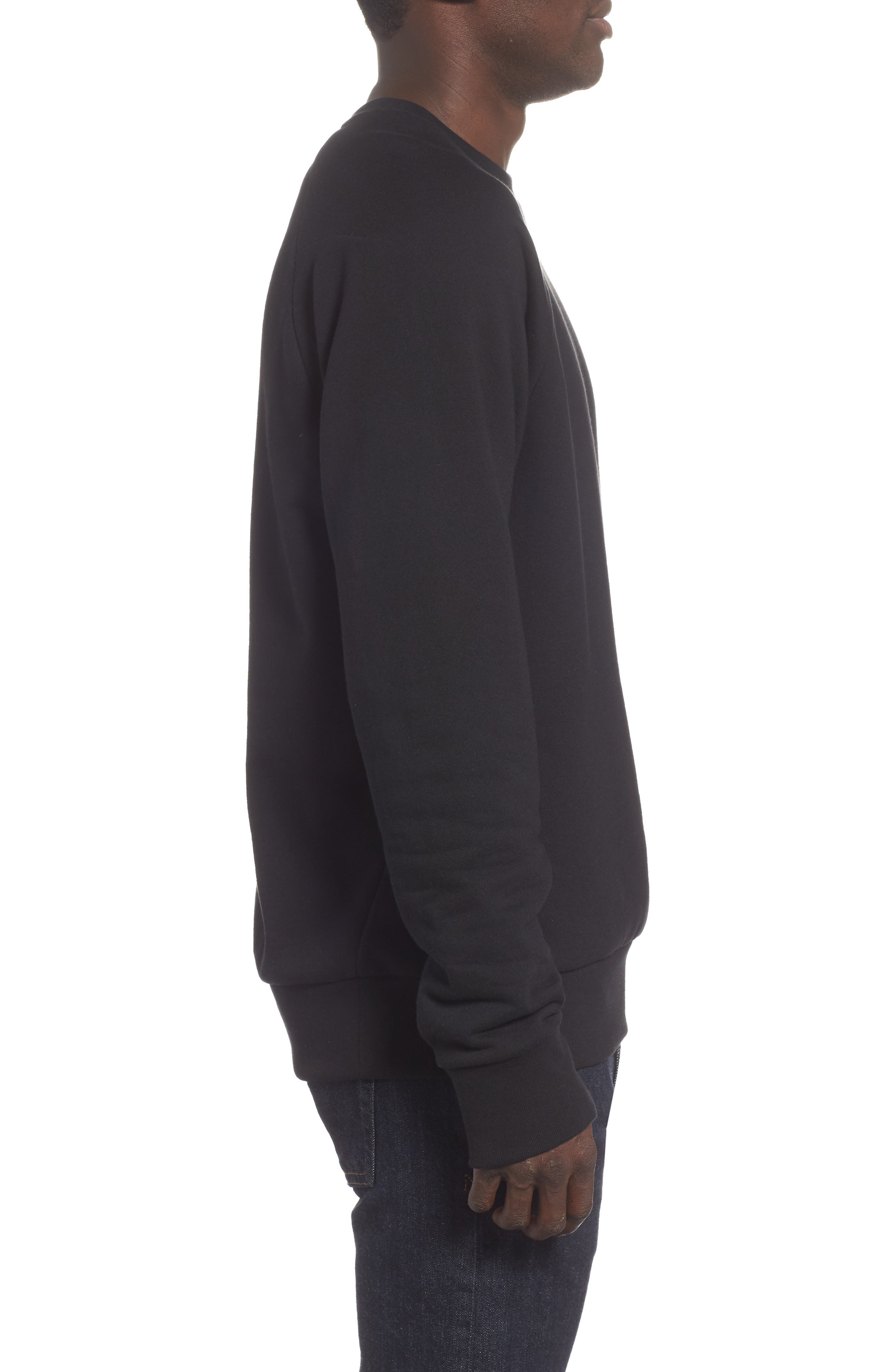 Core Fleece Crewneck,                             Alternate thumbnail 3, color,                             BLACK
