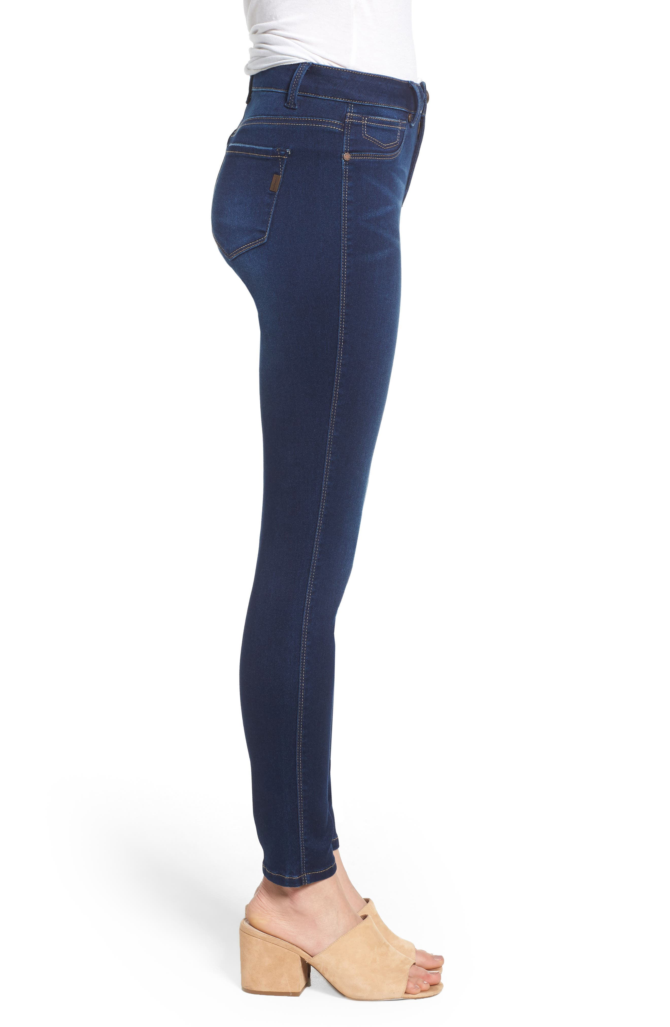 Butter High Rise Skinny Ankle Jeans,                             Alternate thumbnail 3, color,                             RAQUEL