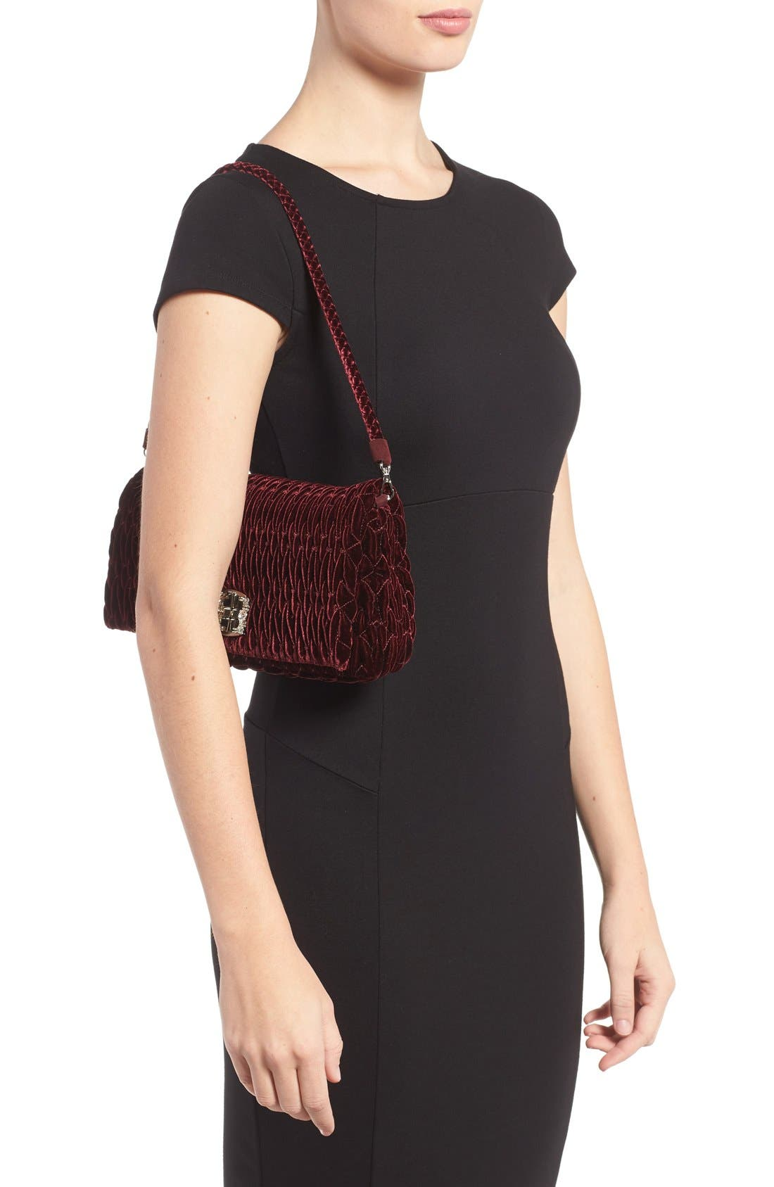 Medium Crystal Embellished Quilted Velvet Shoulder Bag,                             Alternate thumbnail 3, color,                             BORDEAUX