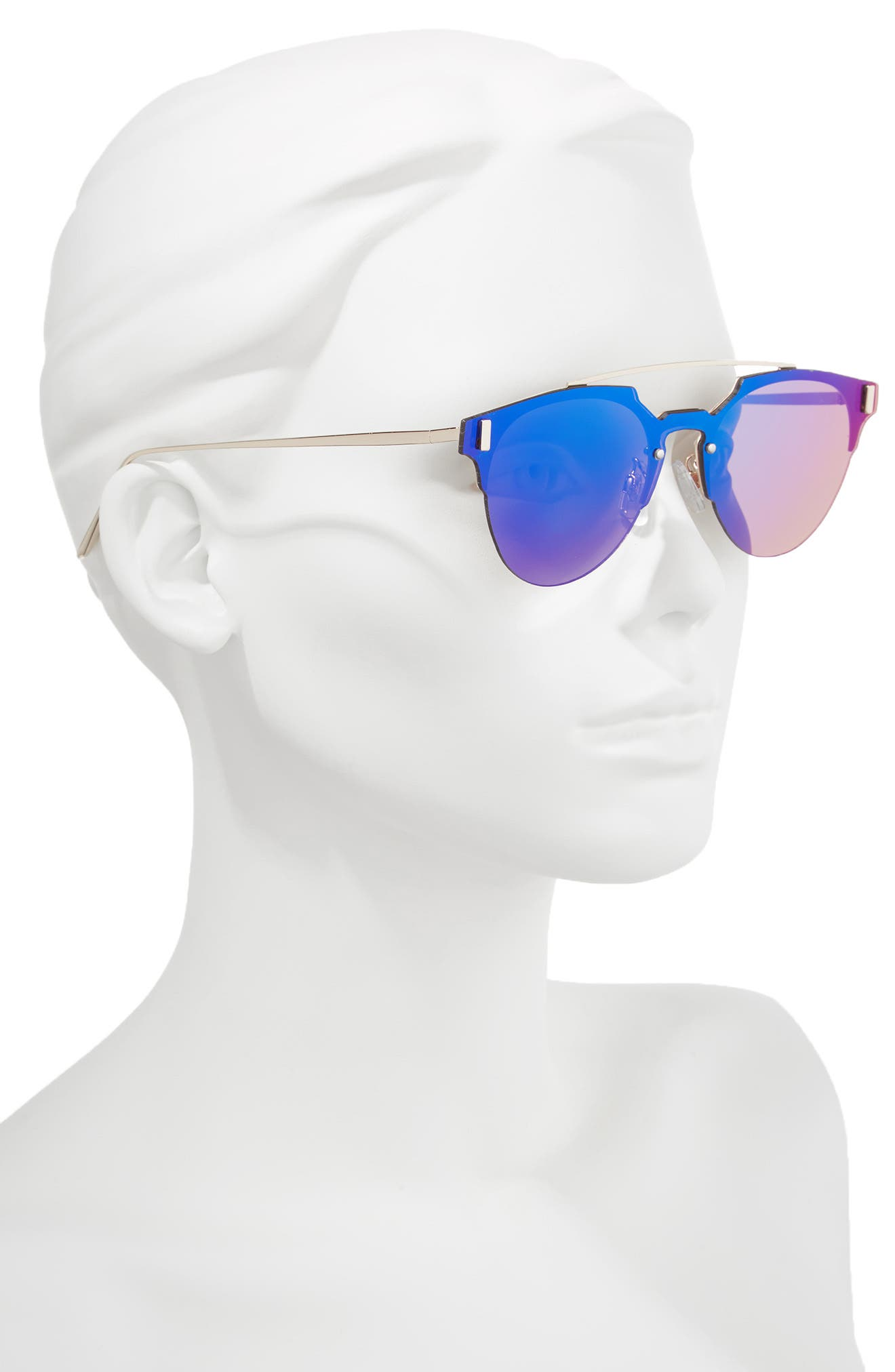 50mm Mirrored Round Sunglasses,                             Alternate thumbnail 2, color,                             400