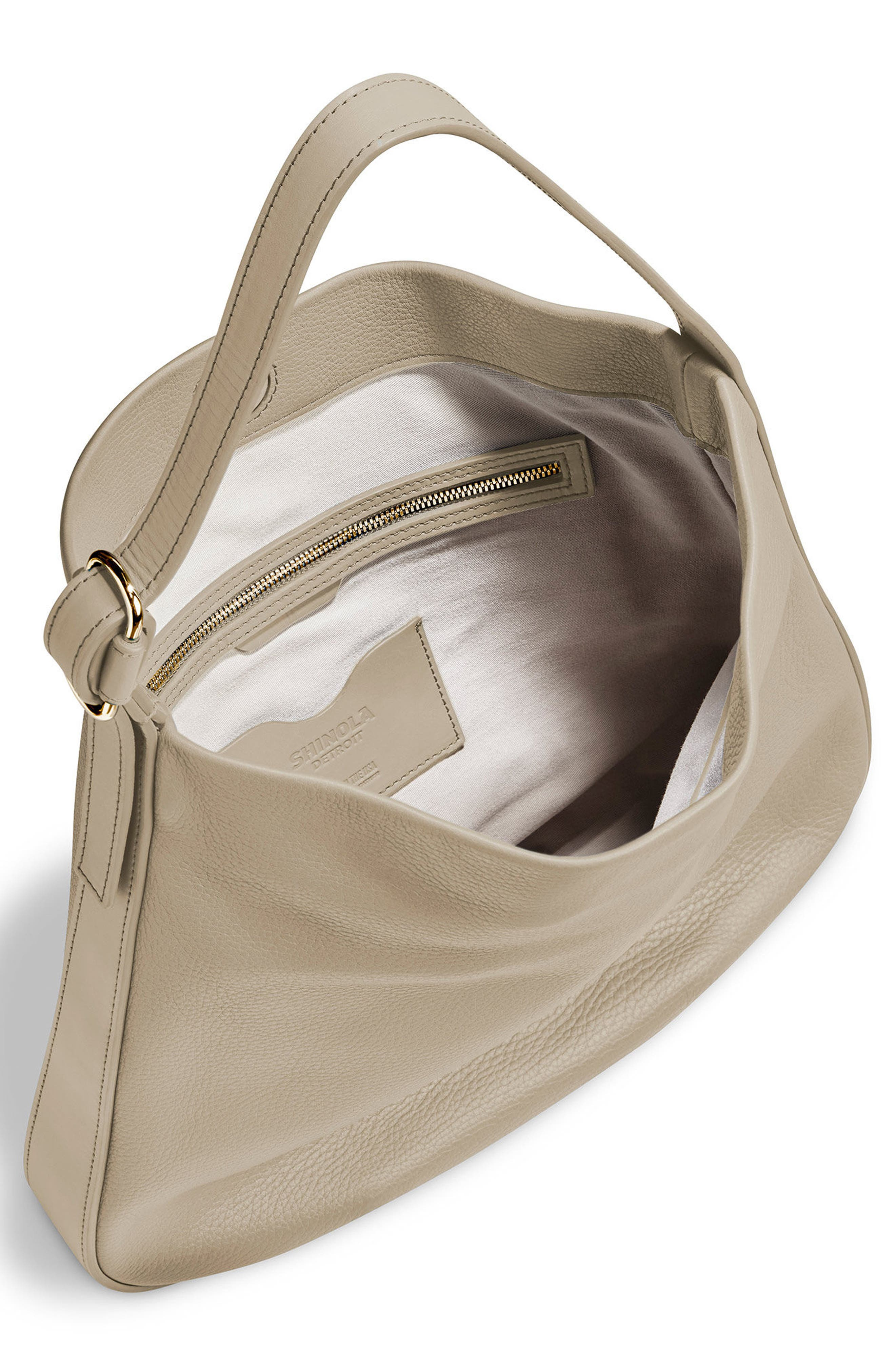 Birdy Grained Leather Hobo Bag,                             Alternate thumbnail 4, color,                             STONE