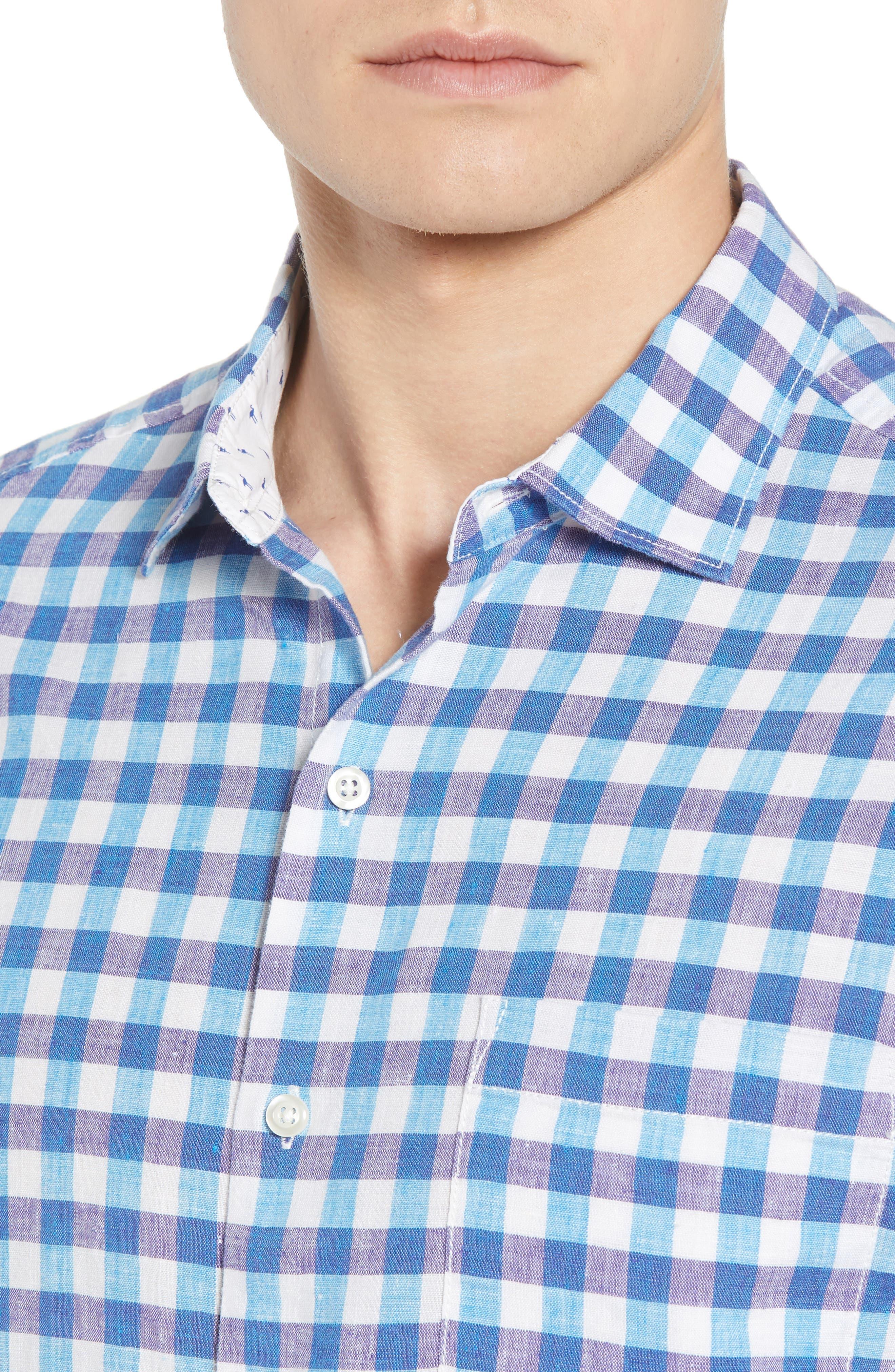 Gingham Del Toro Linen Blend Sport Shirt,                             Alternate thumbnail 7, color,