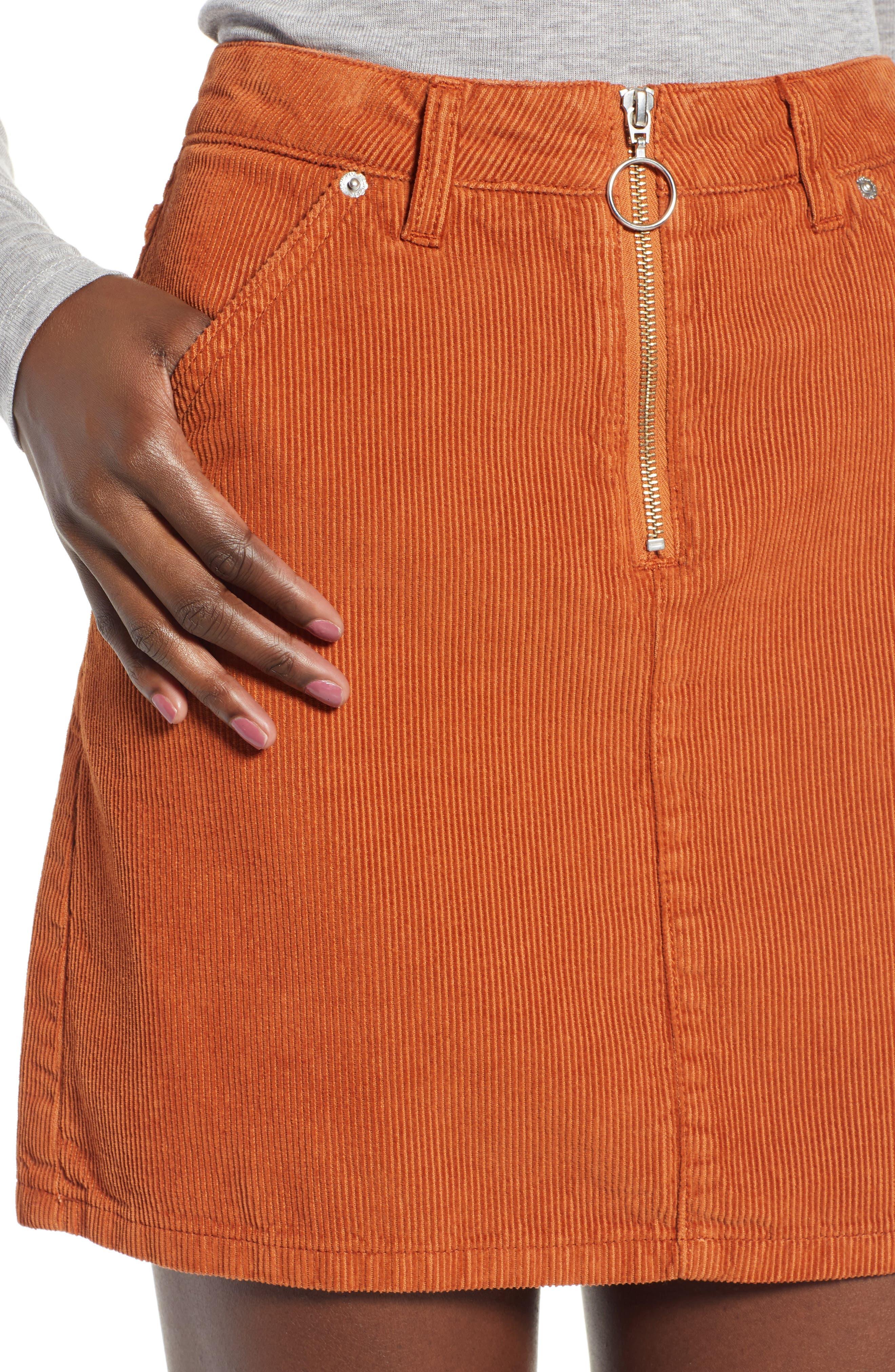 Cord Miniskirt,                             Alternate thumbnail 4, color,                             TOBACCO
