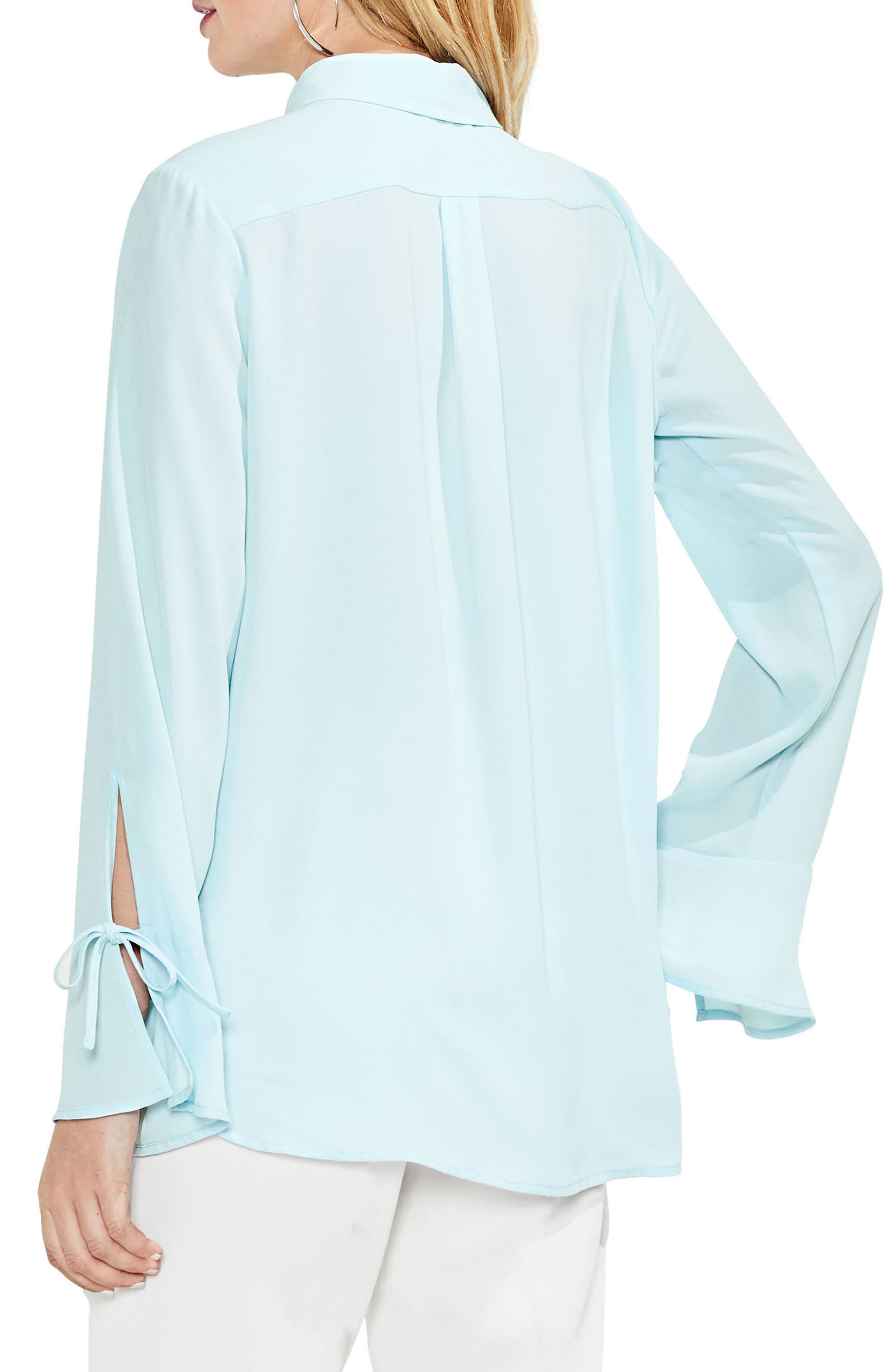 Flare Cuff Keyhole Blouse,                             Alternate thumbnail 5, color,