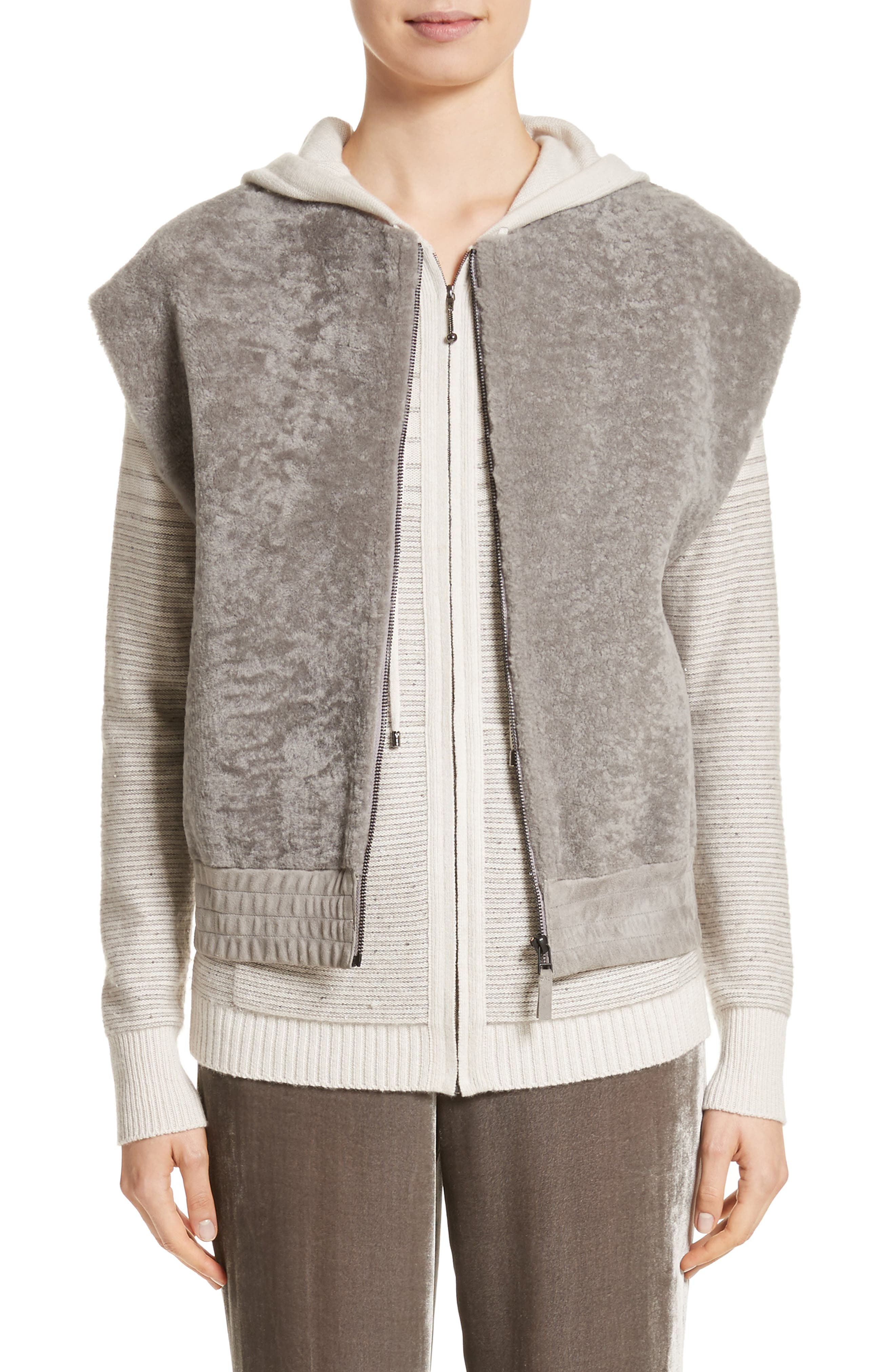 Genuine Shearling Vest,                             Main thumbnail 1, color,                             030