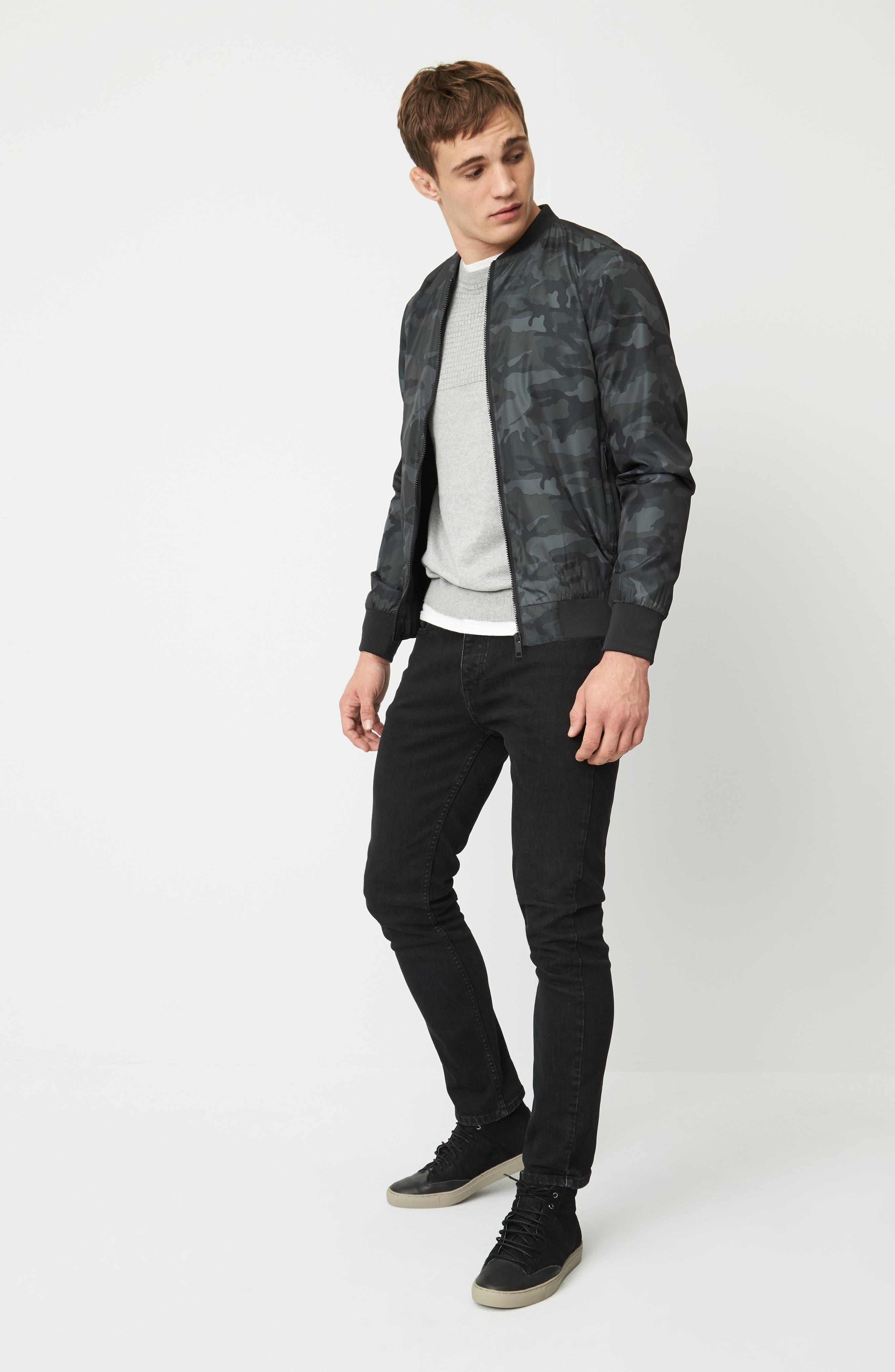 Washed Slim Fit Jeans,                             Alternate thumbnail 7, color,                             001