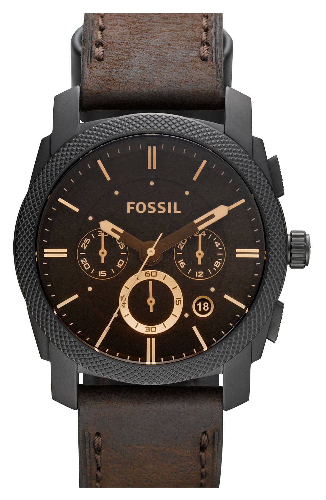 Round Chronograph Leather Strap Watch,                             Main thumbnail 1, color,                             200