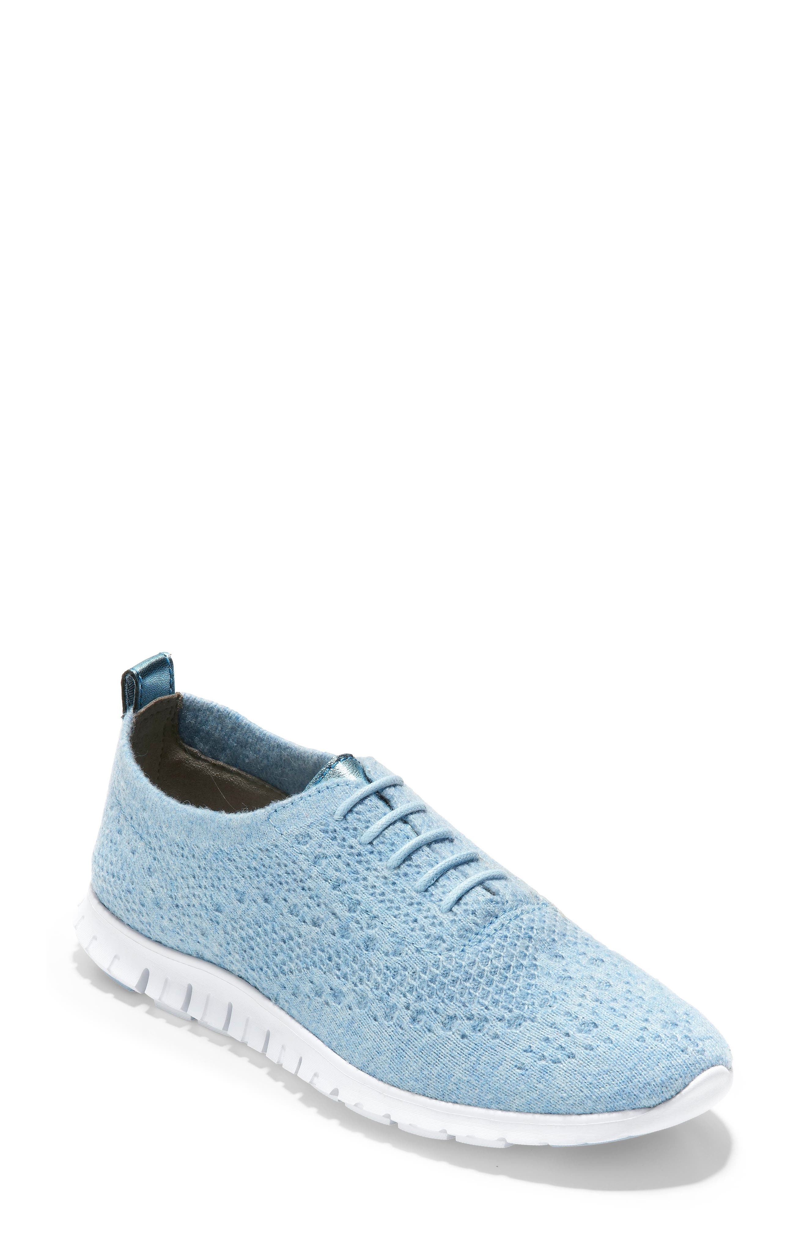 COLE HAAN ZeroGrand Stitchlite Wool Flat, Main, color, CHAMBRAY BLUE FABRIC