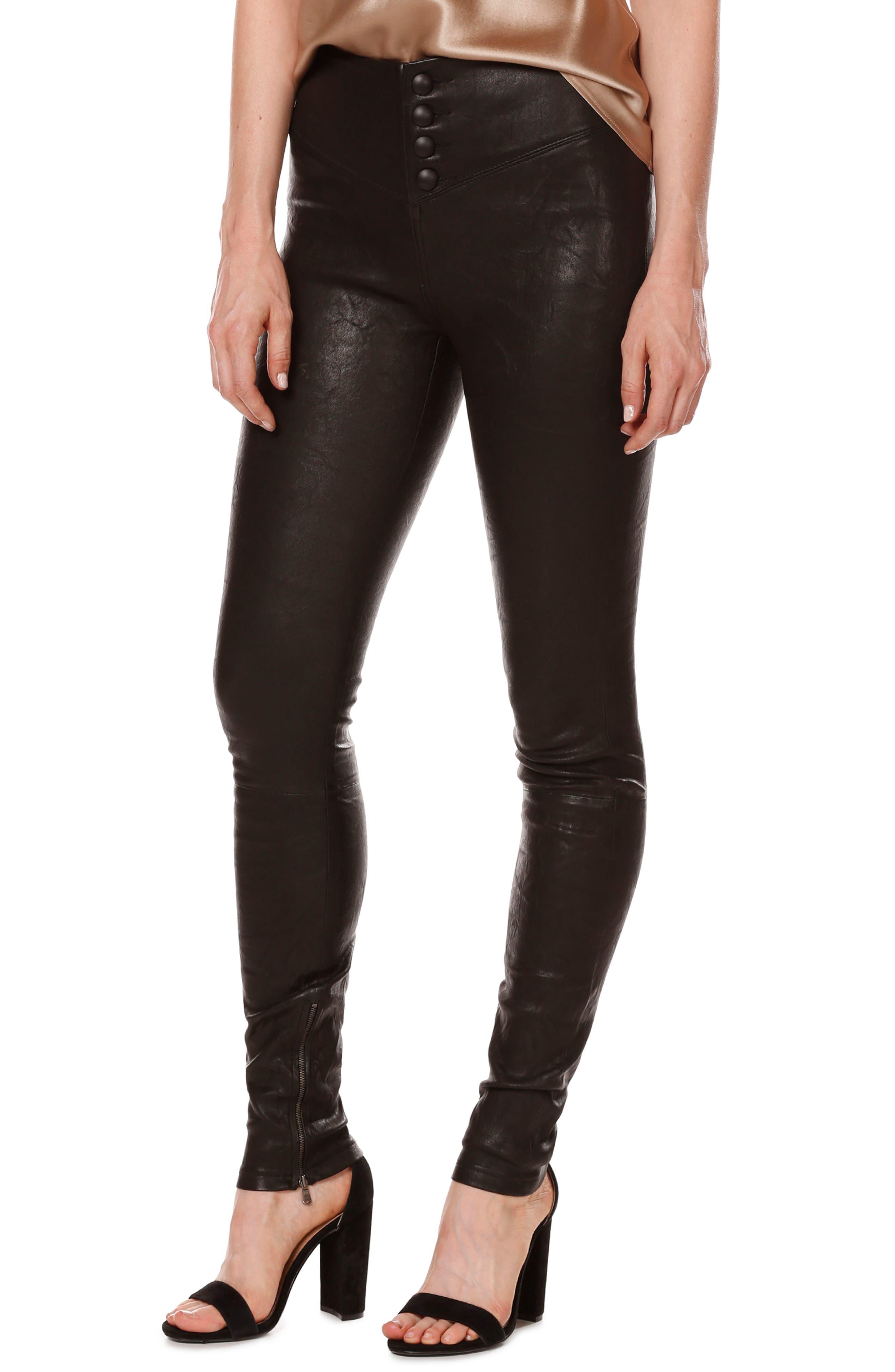 Rosie HW x PAIGE Ellery Ankle Zip Leather Pants,                             Main thumbnail 1, color,                             001