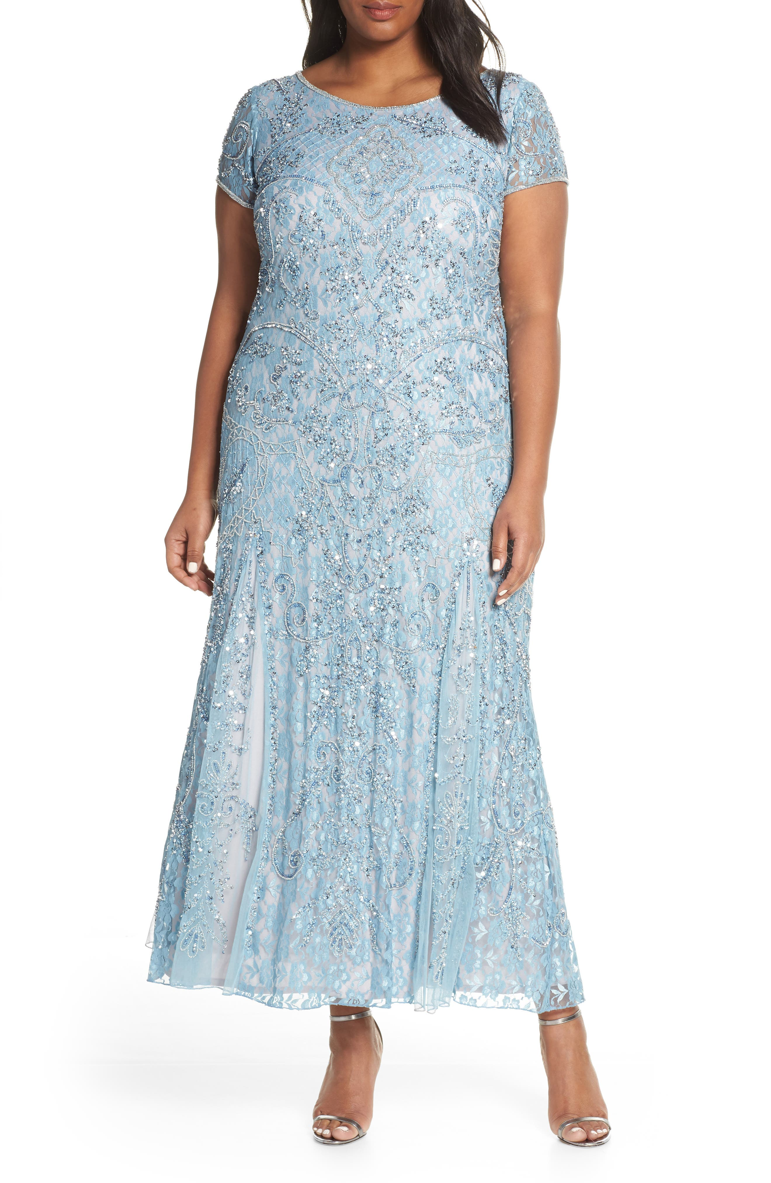 PISARRO NIGHTS,                             Embellished Lace A-Line Dress,                             Main thumbnail 1, color,                             SKY BLUE