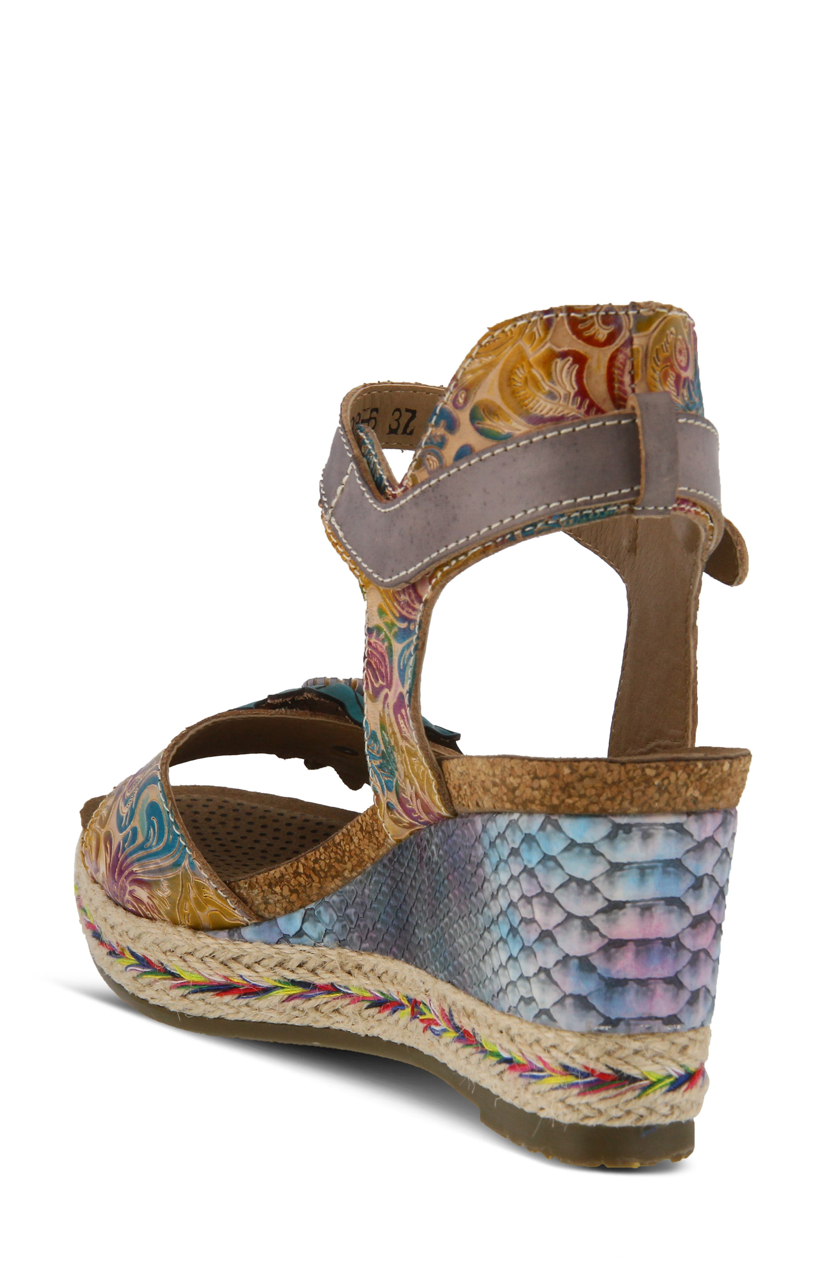 L'ARTISTE,                             Annmarie Wedge Sandal,                             Alternate thumbnail 2, color,                             GREY MULTI LEATHER