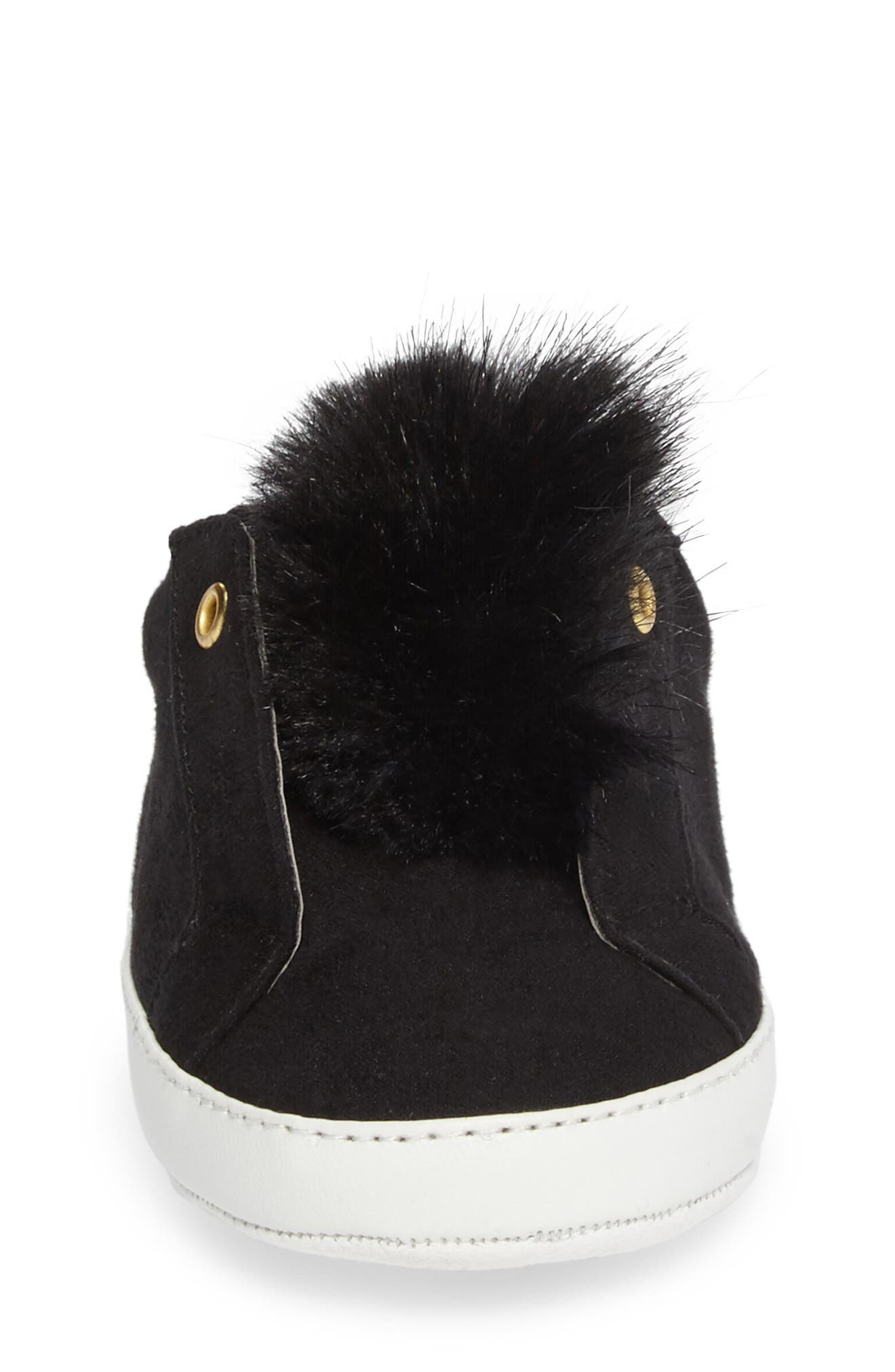 Leya Faux Fur Pompom Sneaker,                             Alternate thumbnail 4, color,                             001