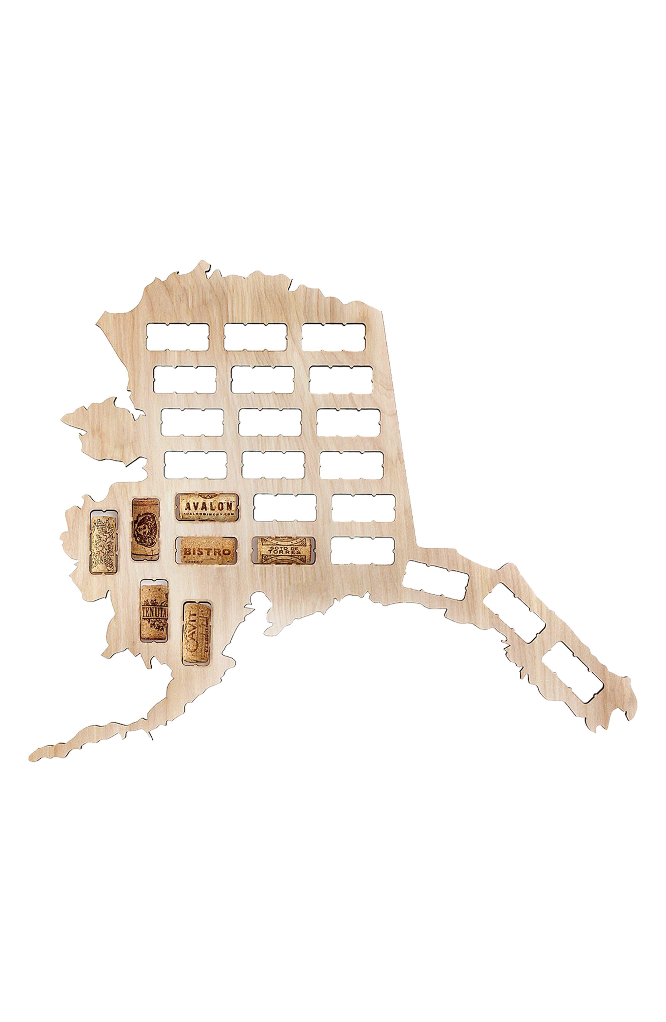 State Map Wine Cork Trap,                             Main thumbnail 1, color,                             ALASKA