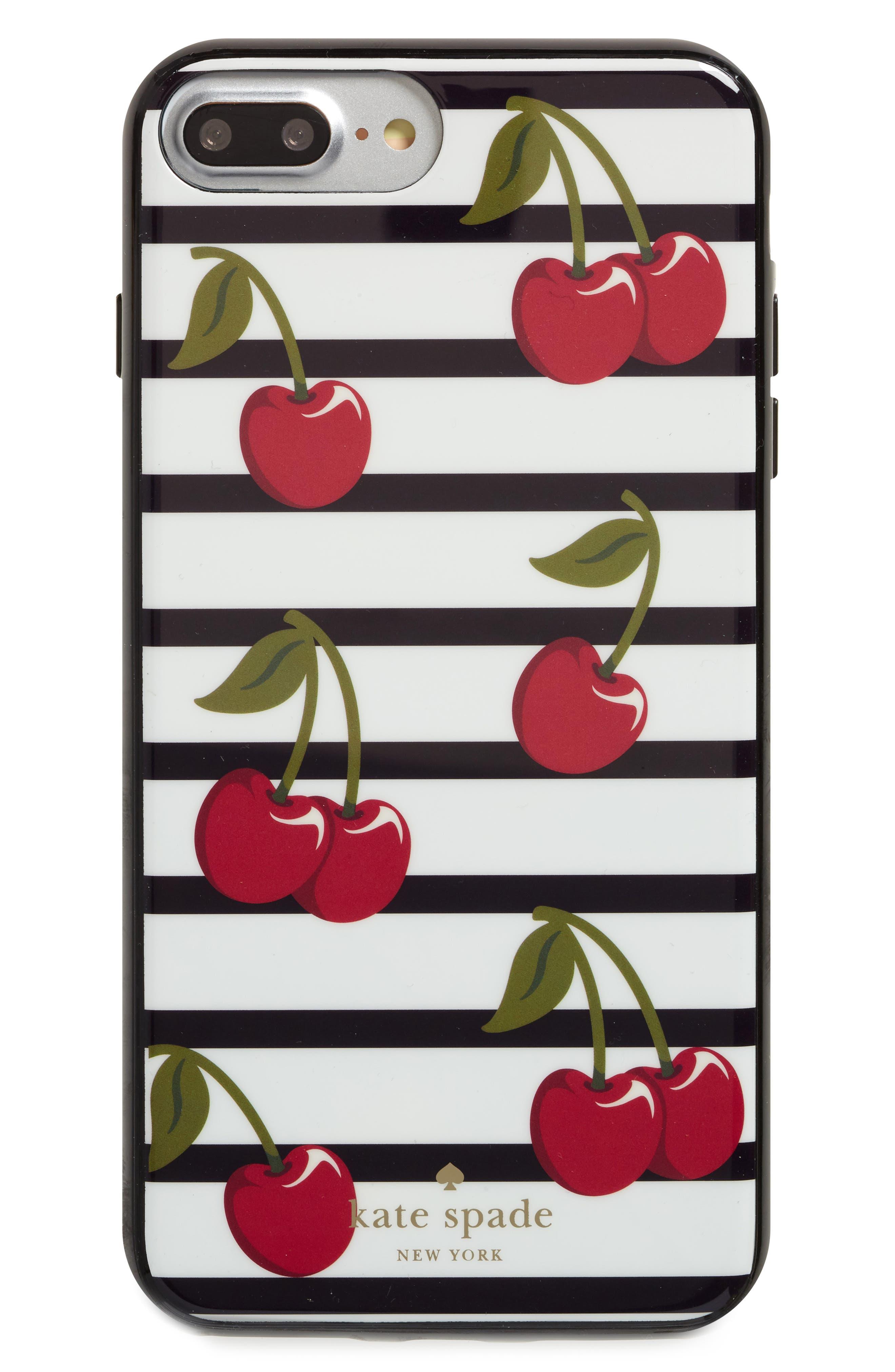 cherry stripe iPhone 7/8 & 7/8 Plus case,                             Main thumbnail 1, color,