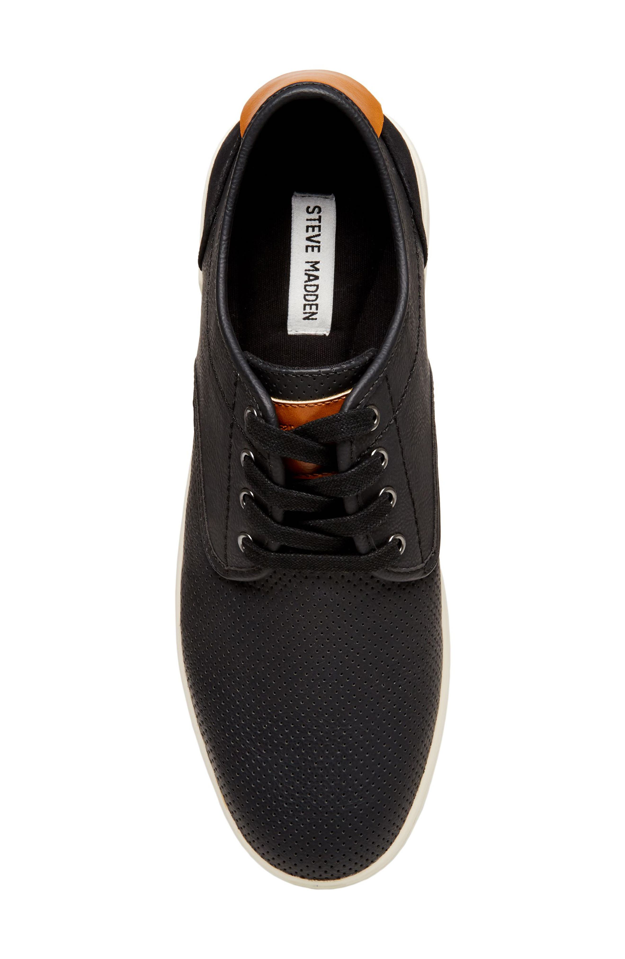 Flyerz Perforated Sneaker,                             Alternate thumbnail 5, color,                             BLACK LEATHER