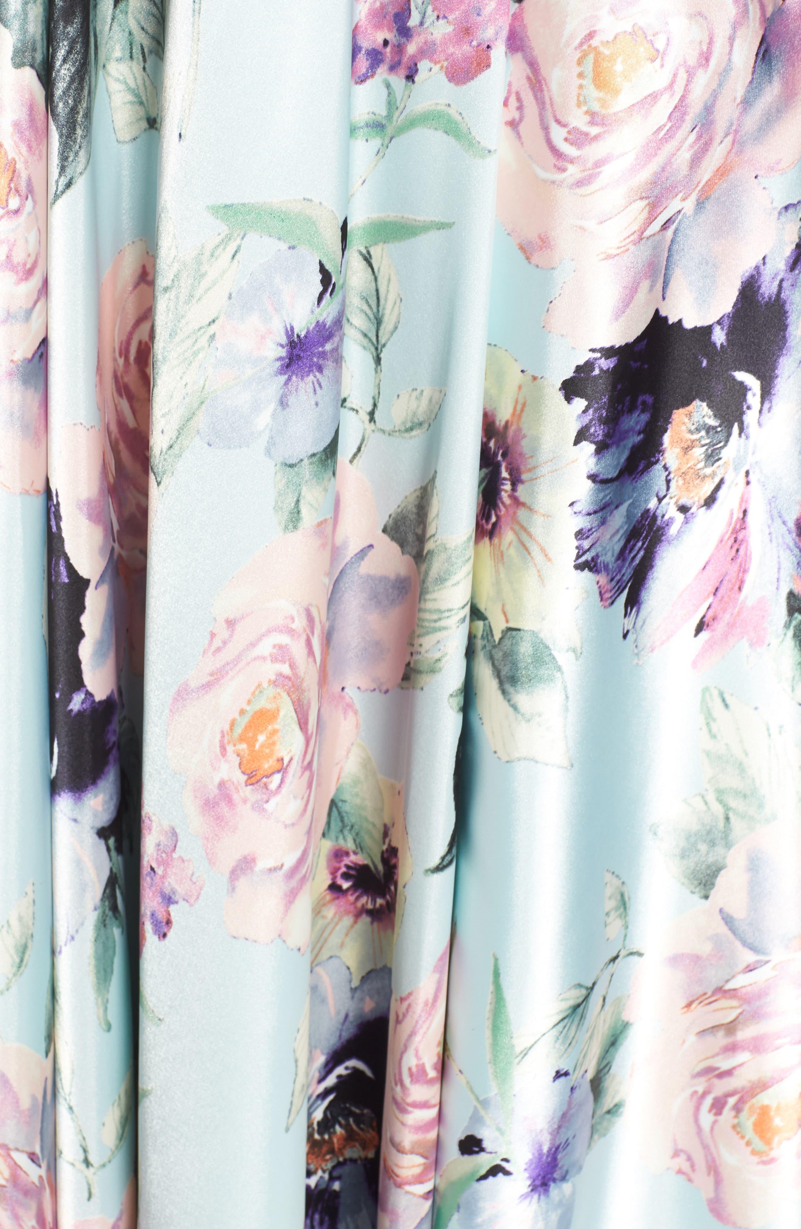 BLONDIE NITES,                             Floral Print Charmeuse Evening Dress,                             Alternate thumbnail 6, color,                             MINT/ MULTI