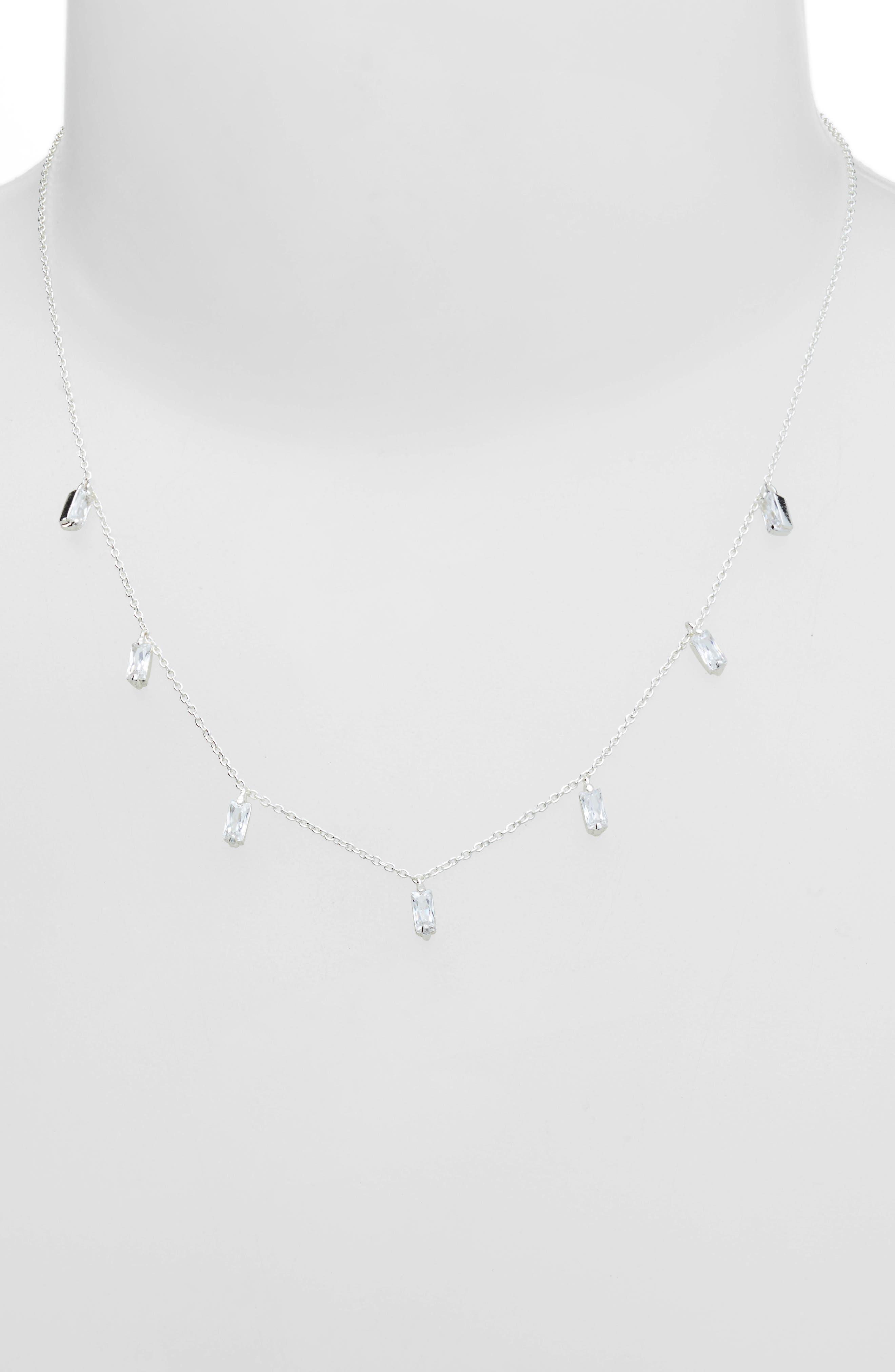 Amara Crystal Fringe Necklace,                             Alternate thumbnail 2, color,                             SILVER