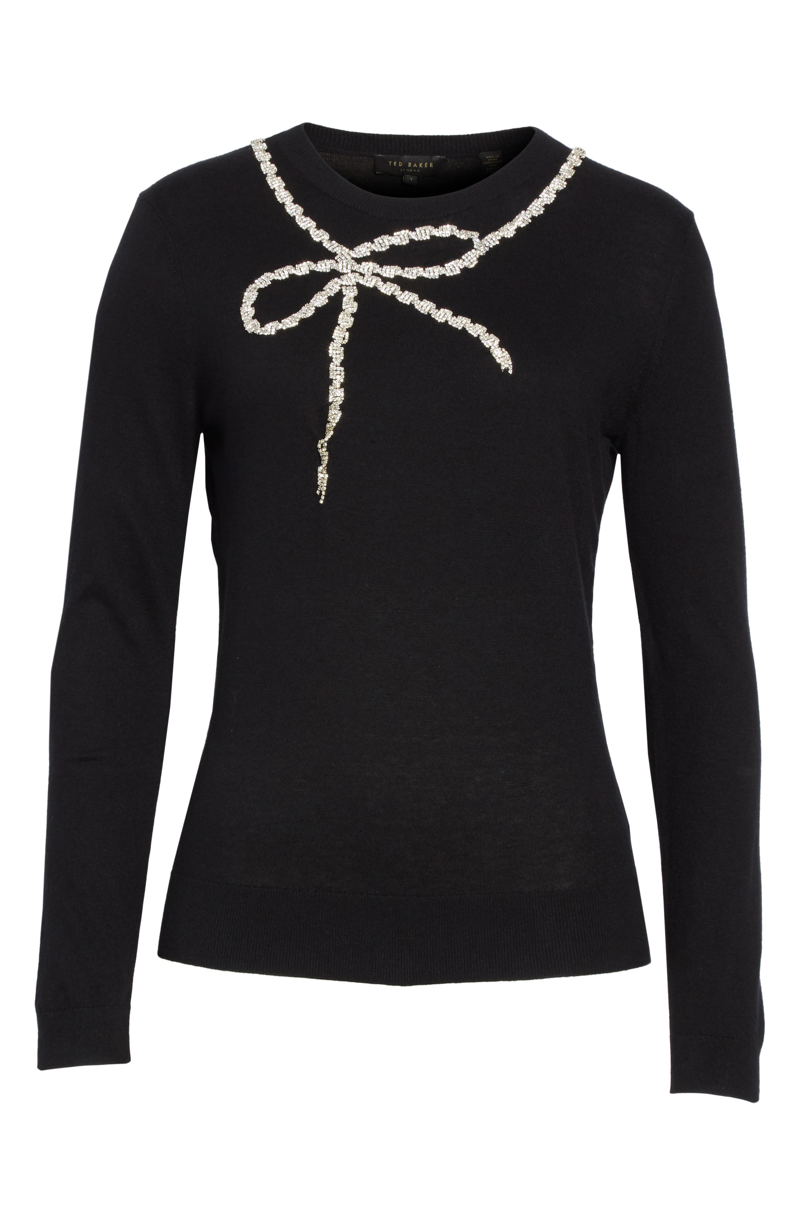 Sparkle Bow Sweater,                             Alternate thumbnail 6, color,                             001