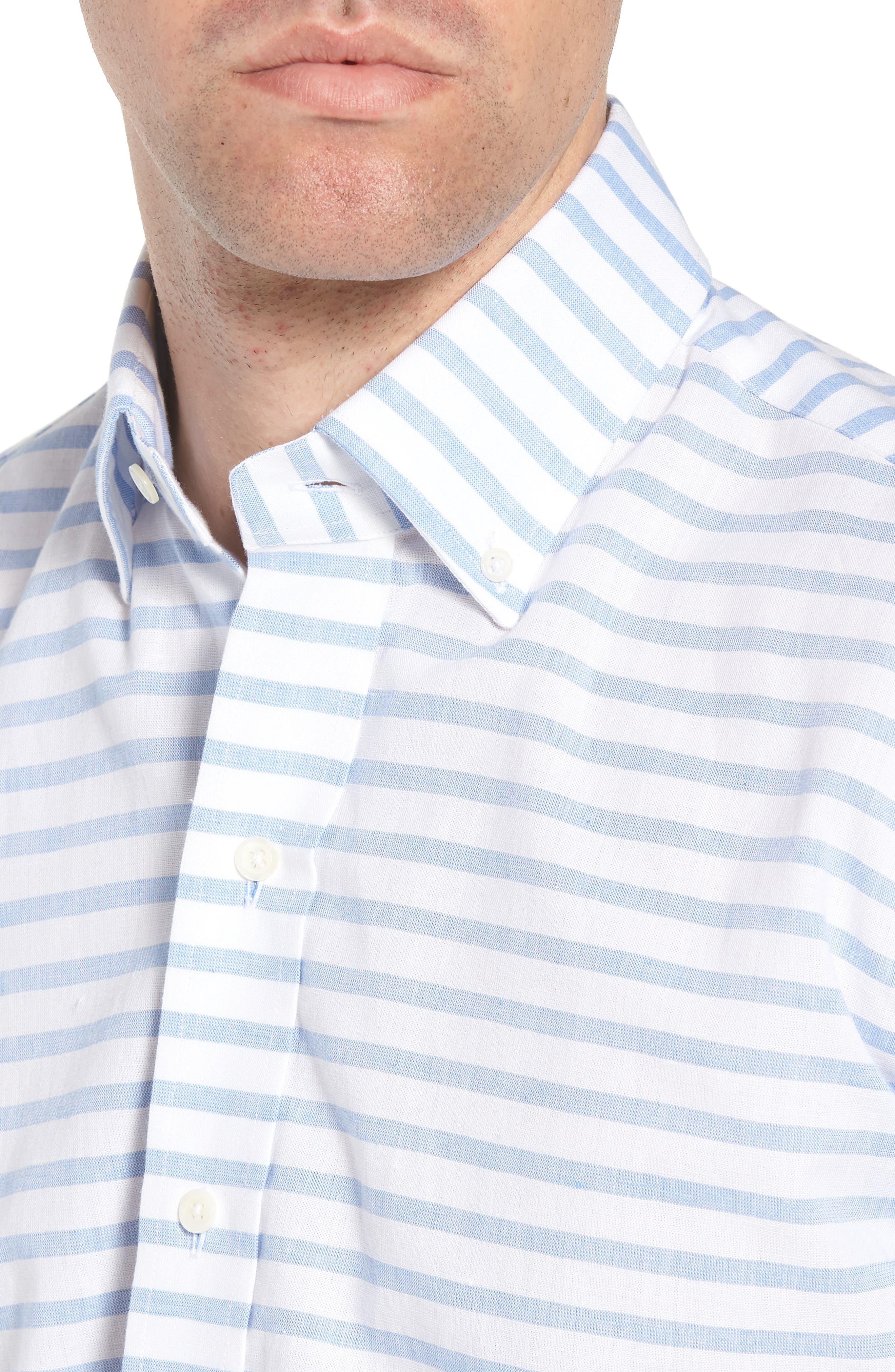 Gunnin Stripe Slim Fit Cotton & Linen Sport Shirt,                             Alternate thumbnail 4, color,                             400