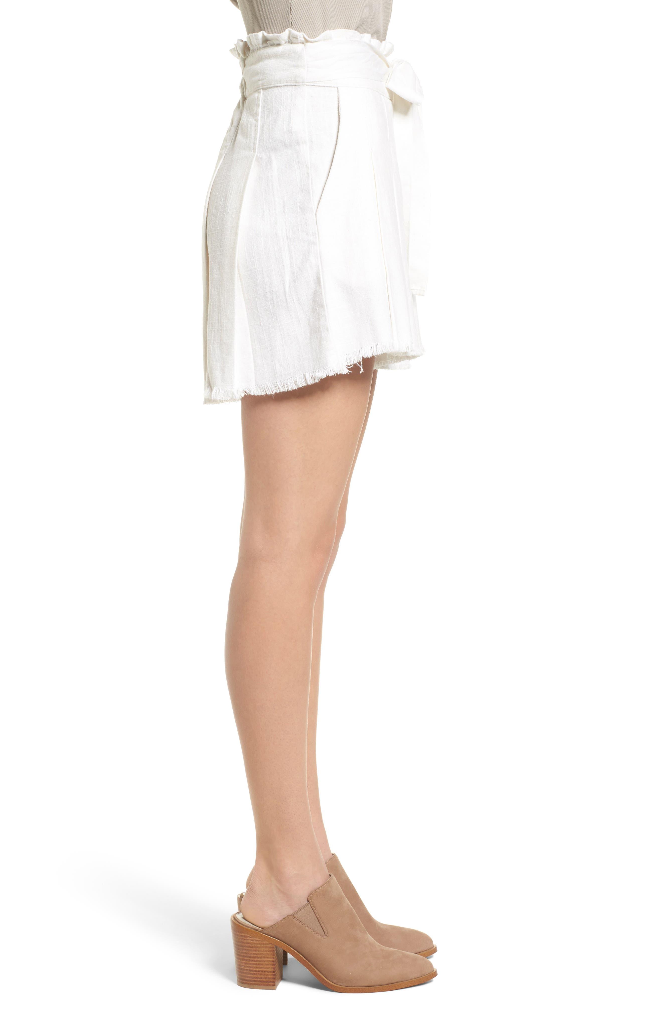 Raw Hem Paper Bag Waist Shorts,                             Alternate thumbnail 3, color,                             100