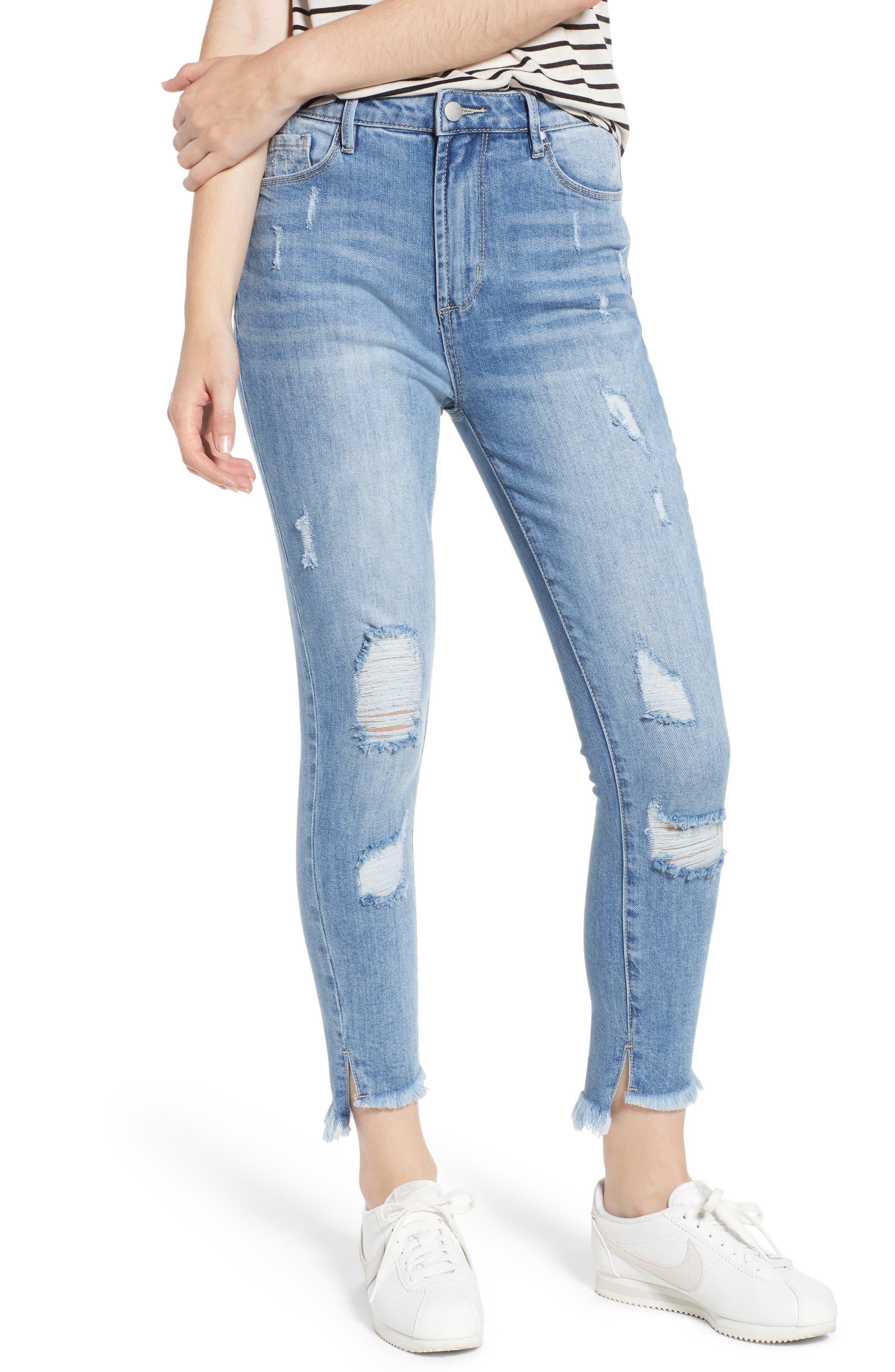 Ripped High Waist Step Hem Skinny Jeans,                             Main thumbnail 1, color,                             400