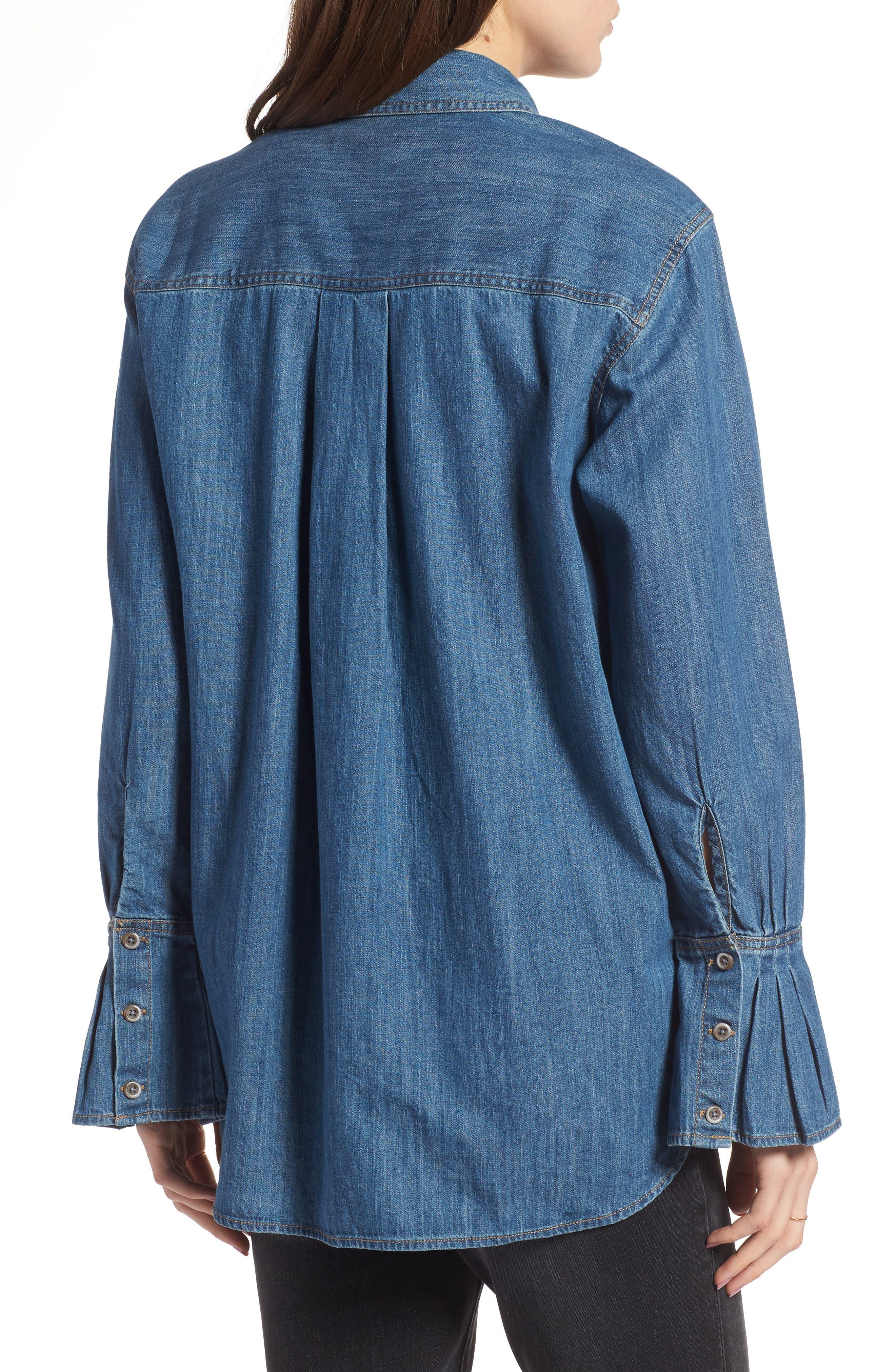 TREASURE & BOND,                             Pleated Cuff Chambray Shirt,                             Alternate thumbnail 2, color,                             420