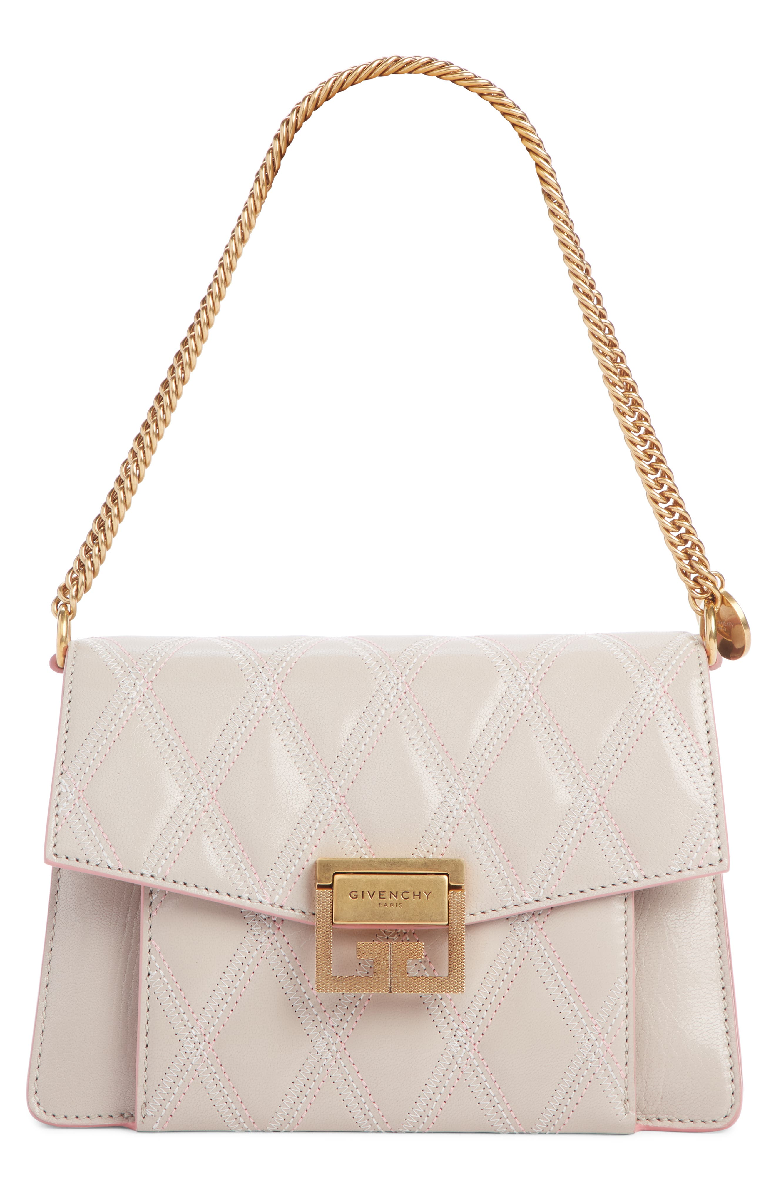 Small GV3 Diamond Quilted Leather Crossbody Bag,                             Main thumbnail 1, color,                             PALE PINK