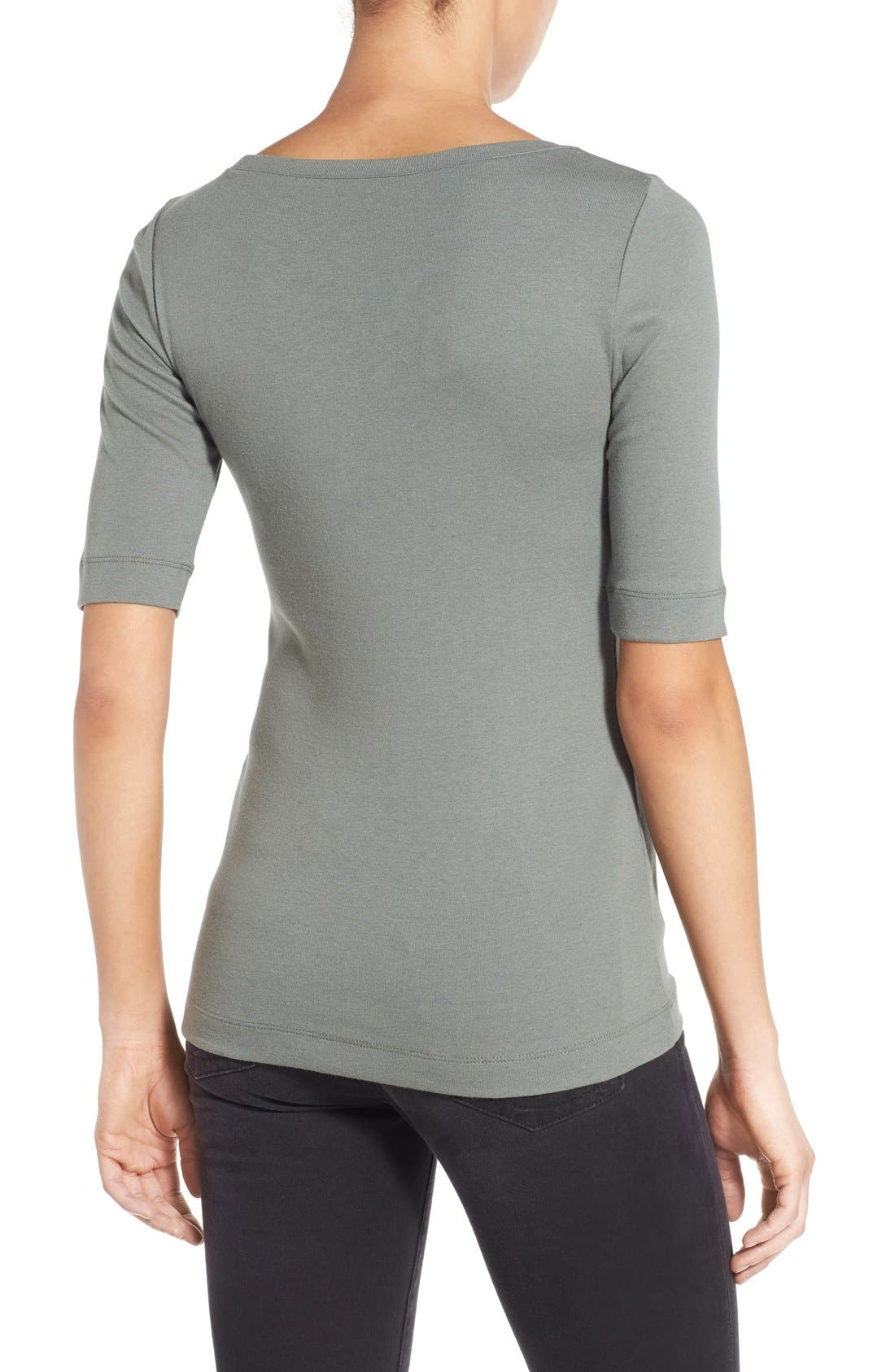 Ballet Neck Cotton & Modal Knit Elbow Sleeve Tee,                             Alternate thumbnail 127, color,
