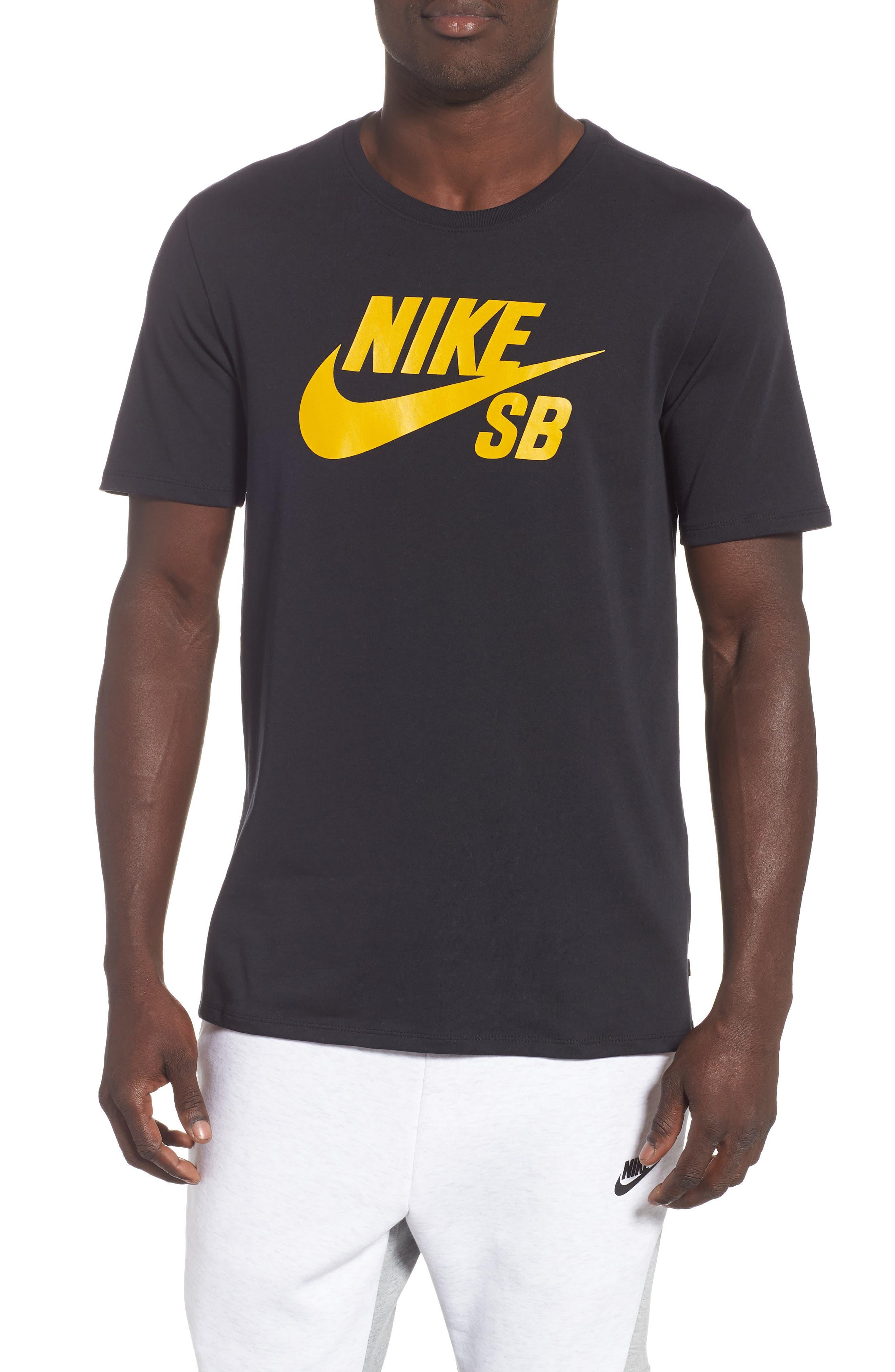 Nike 'SB Logo' T-Shirt,                             Main thumbnail 1, color,                             BLACK/ YELLOW/ OCHRE