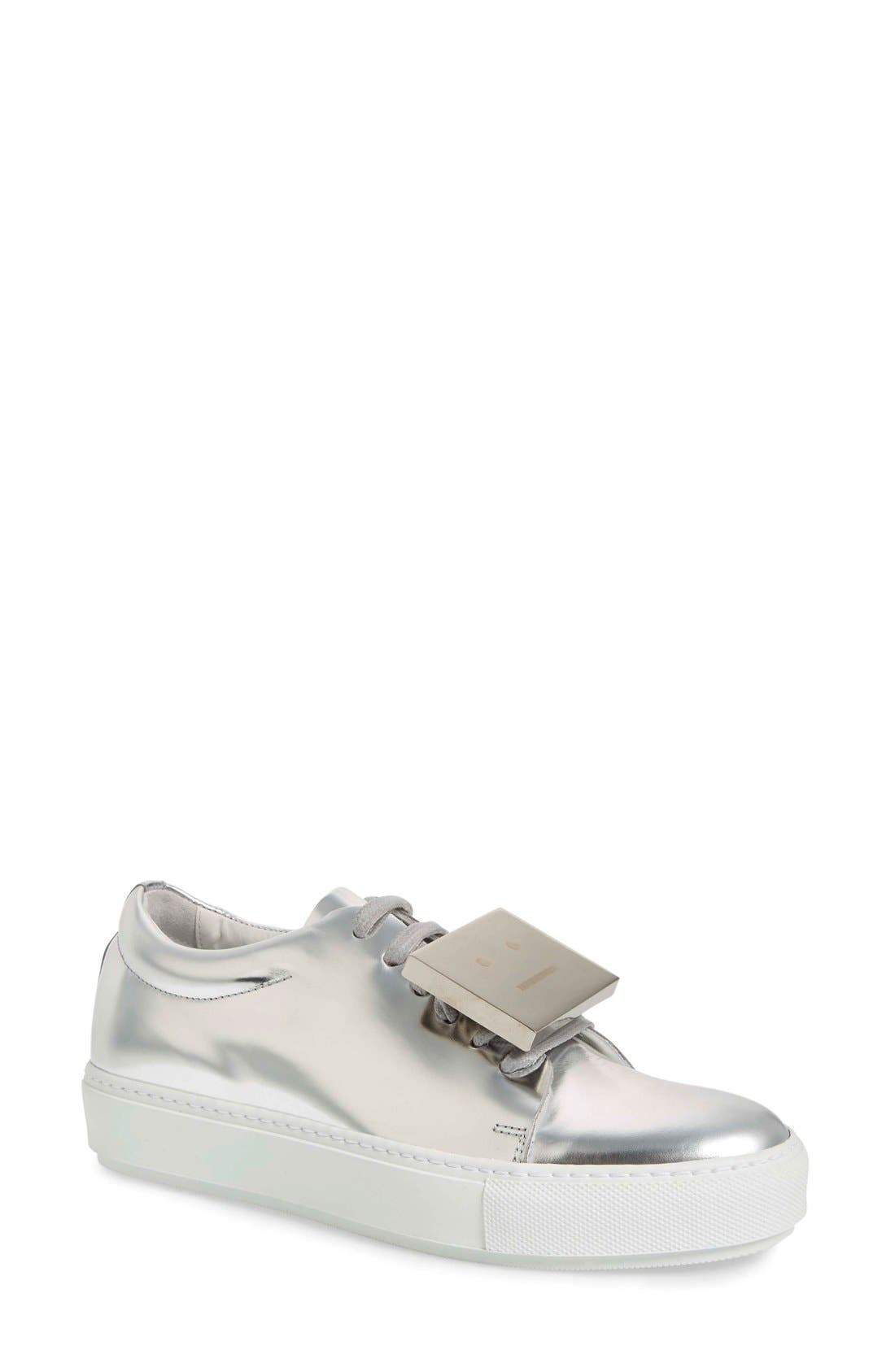 Adriana Silver Metallic Sneaker,                         Main,                         color, 044