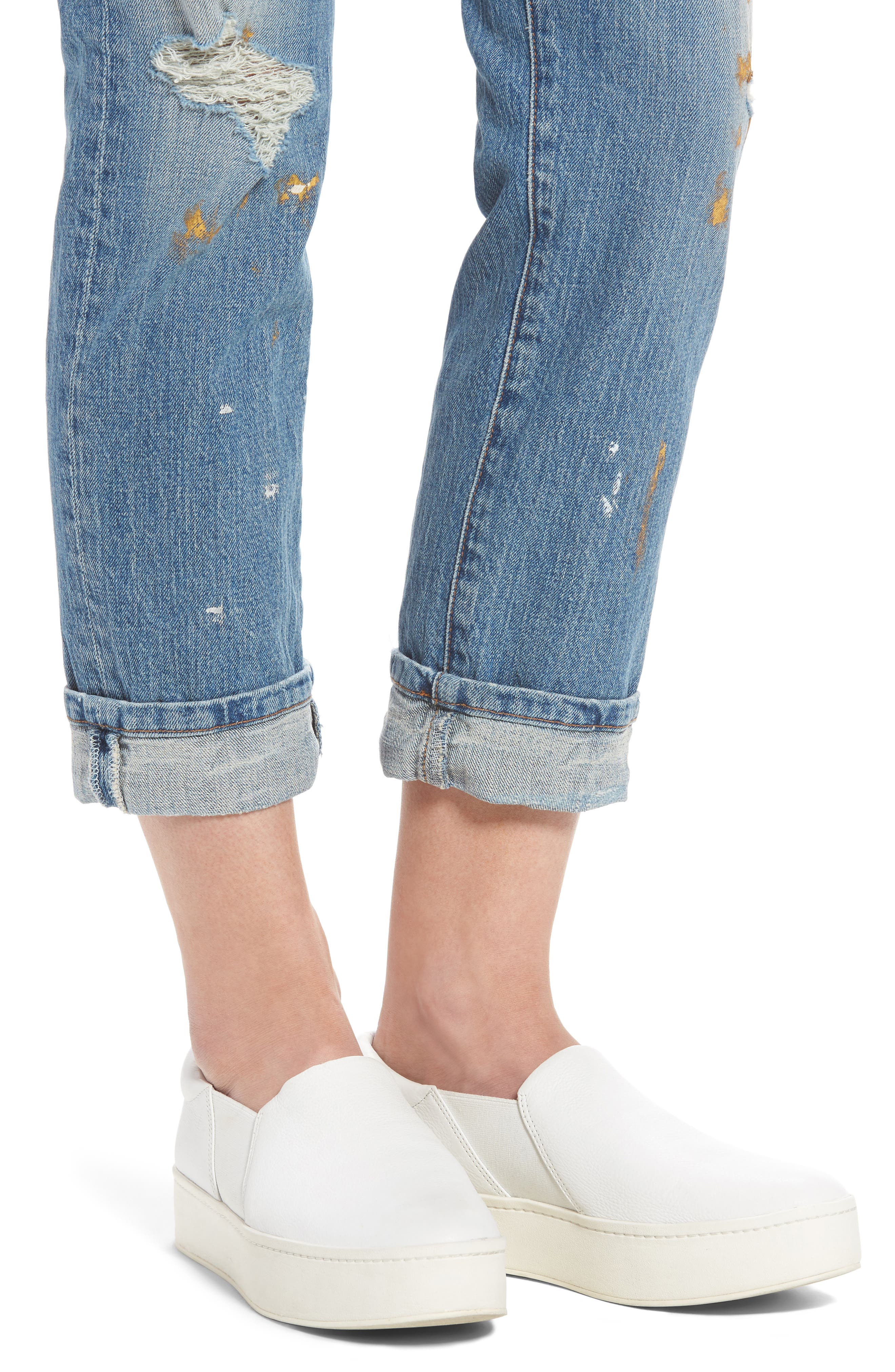 Fling Distressed Rolled Jeans,                             Alternate thumbnail 4, color,                             469