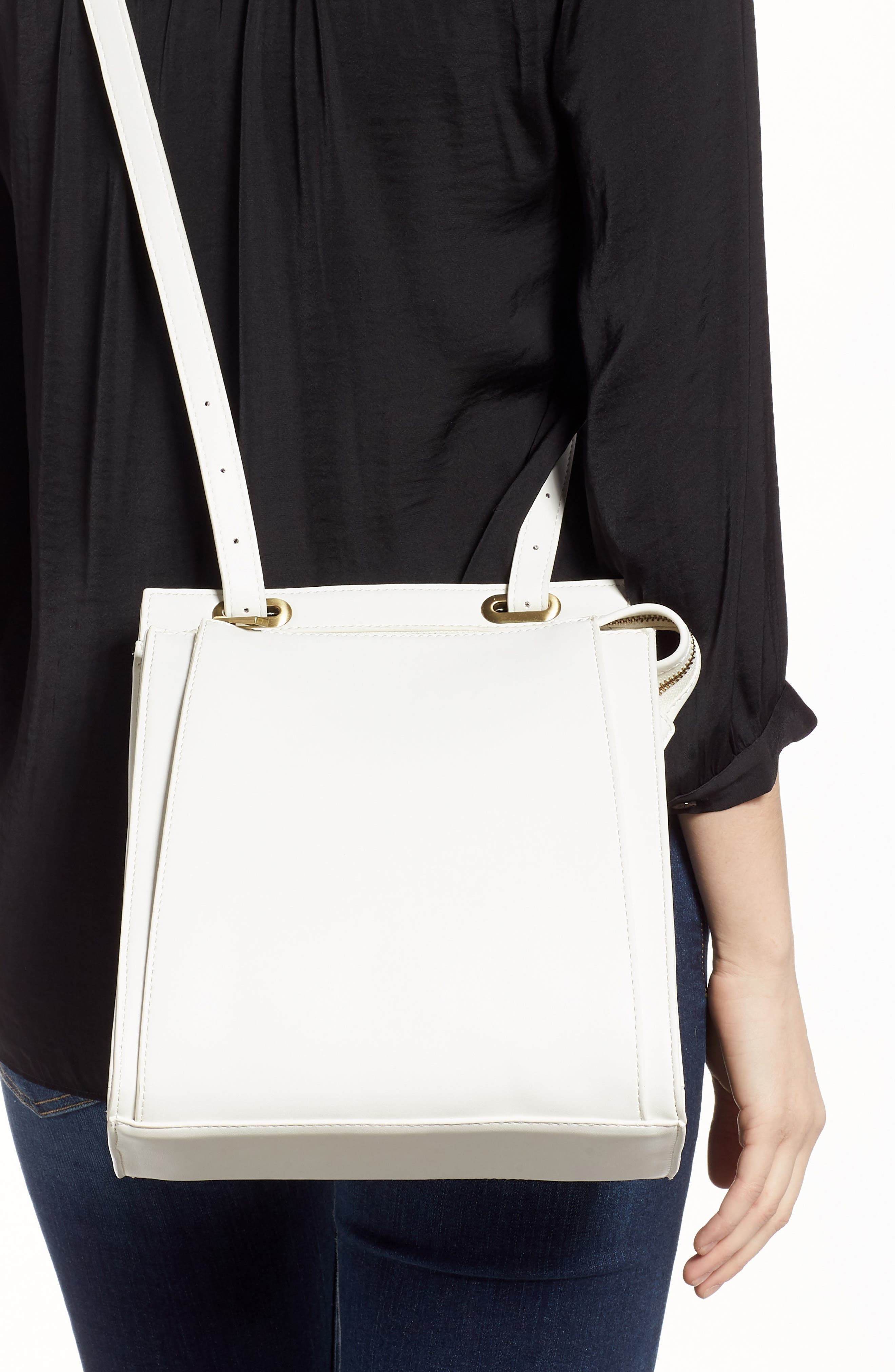 Faux Leather Convertible Backpack,                             Alternate thumbnail 3, color,                             OPTIC WHITE