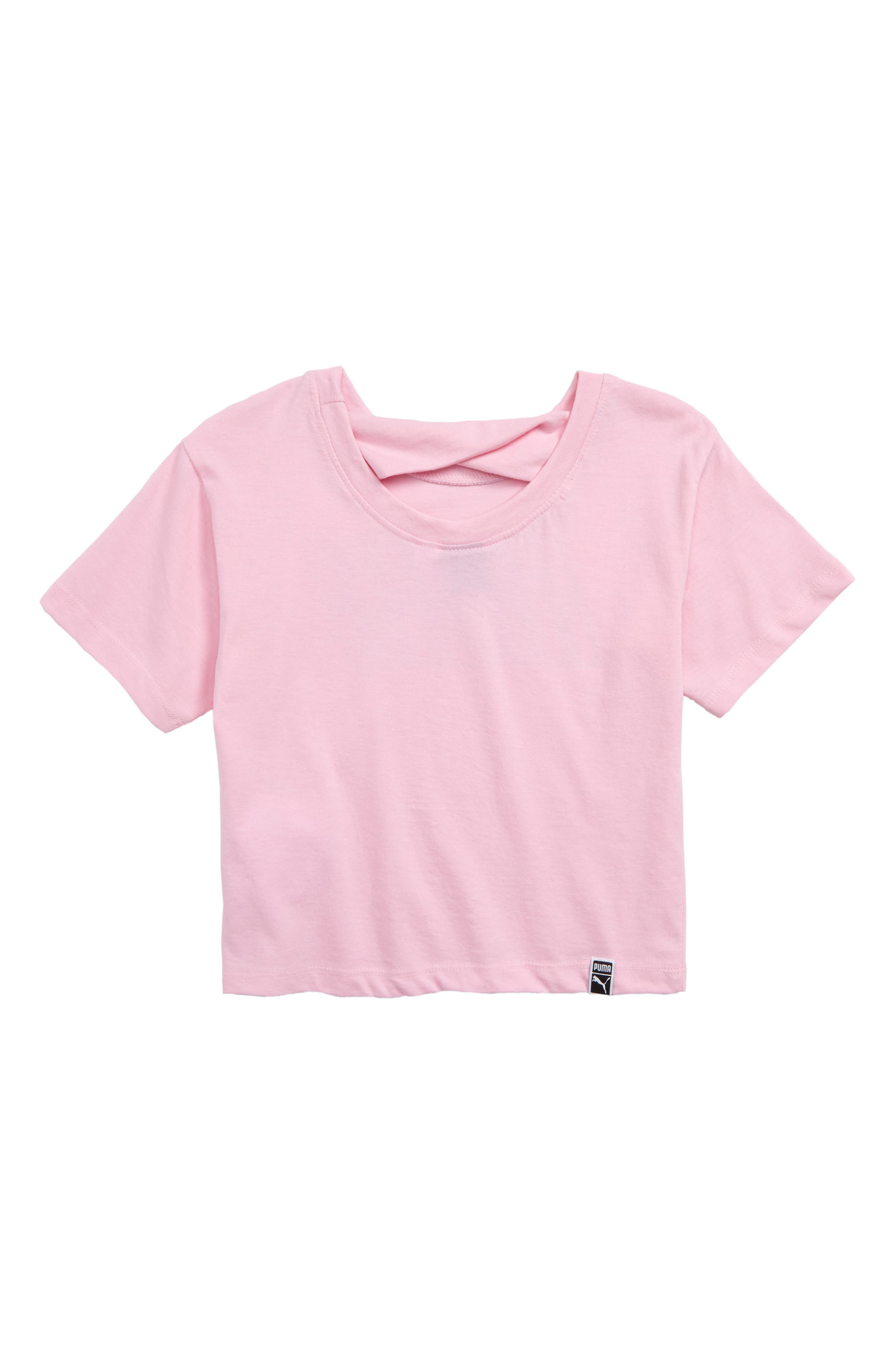PUMA,                             Twist Back Crop Logo Tee,                             Alternate thumbnail 2, color,                             PALE PINK