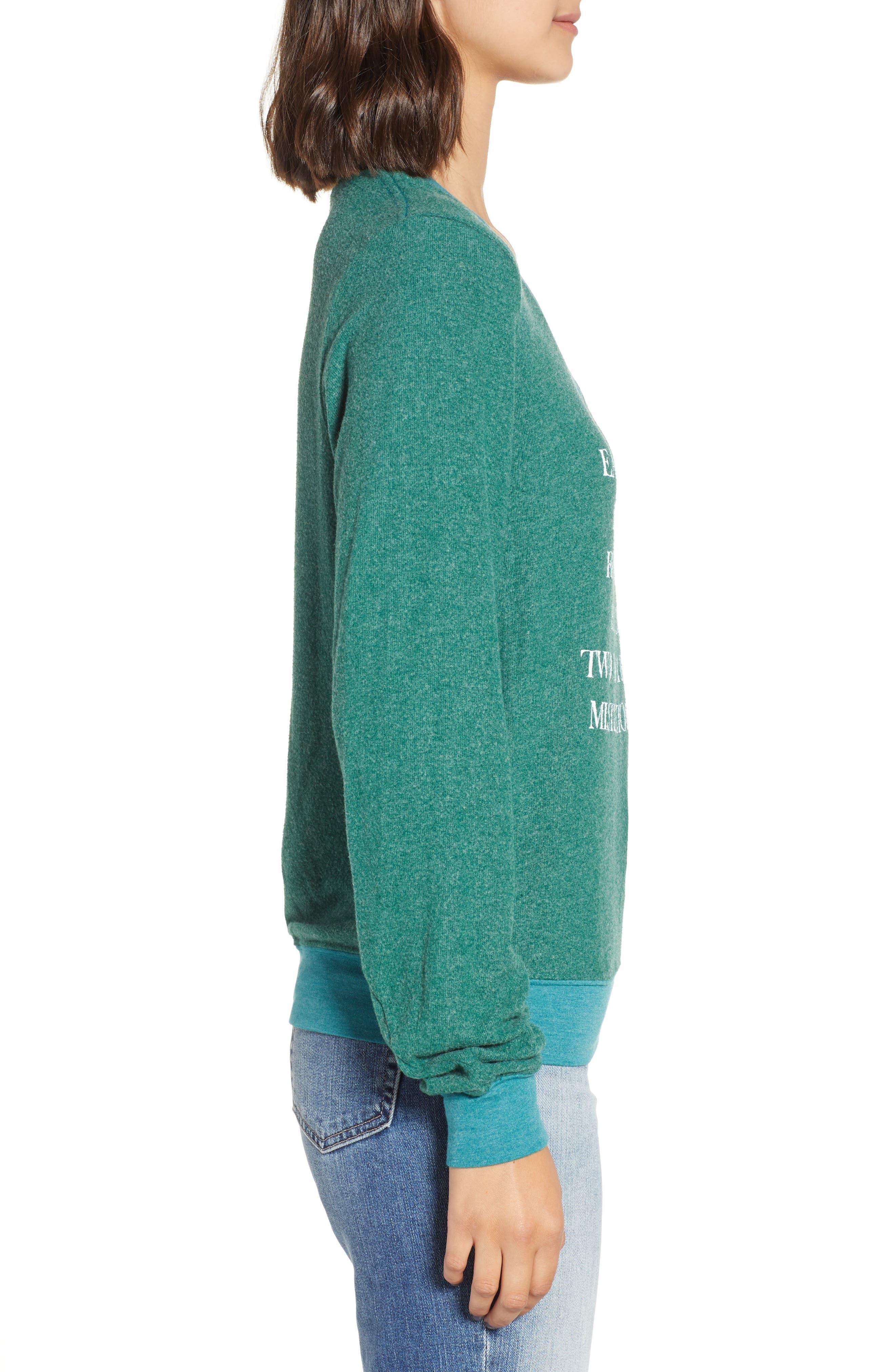 Mistletoe Kisses Sweater,                             Alternate thumbnail 3, color,                             WOODFALL GREEN